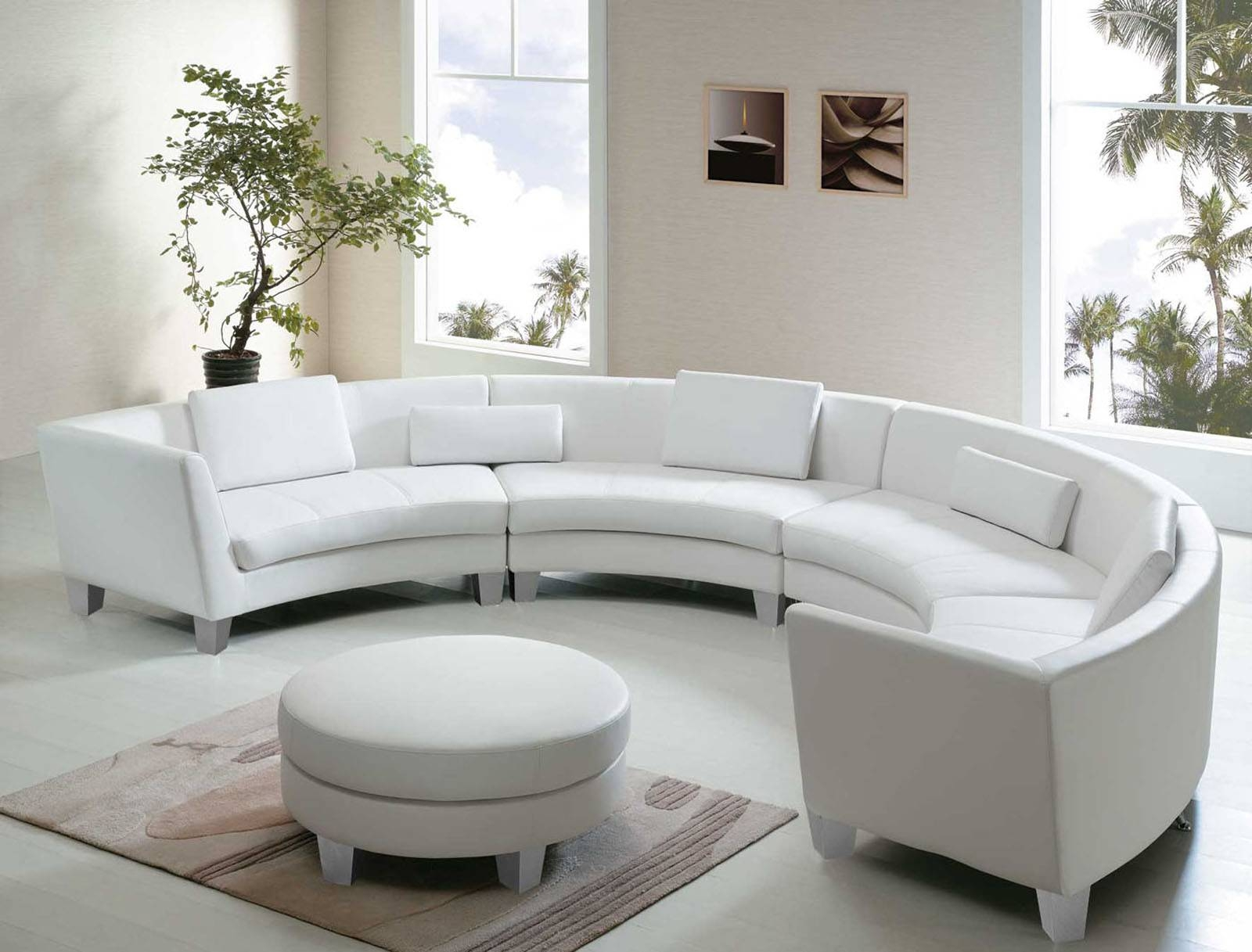 Sofa : Elegant Half Curved Sectional Sofa In Cream Tone Witj Brown in Circle Sectional Sofa (Image 23 of 30)