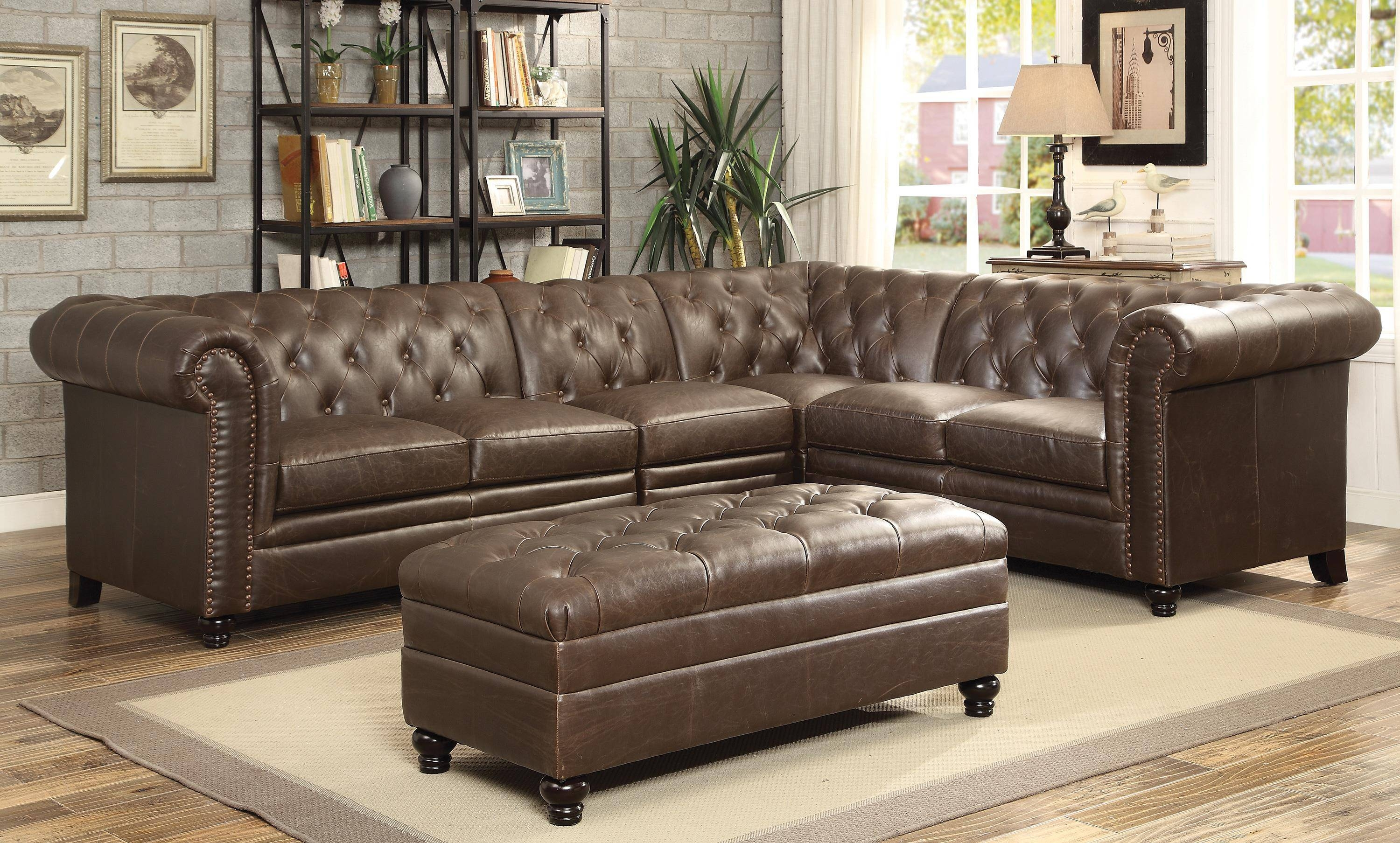 Sofa: Leather Sectional With Chaise | Tufted Sectional Sofa intended for Tufted Sectional Sofa With Chaise (Image 20 of 30)