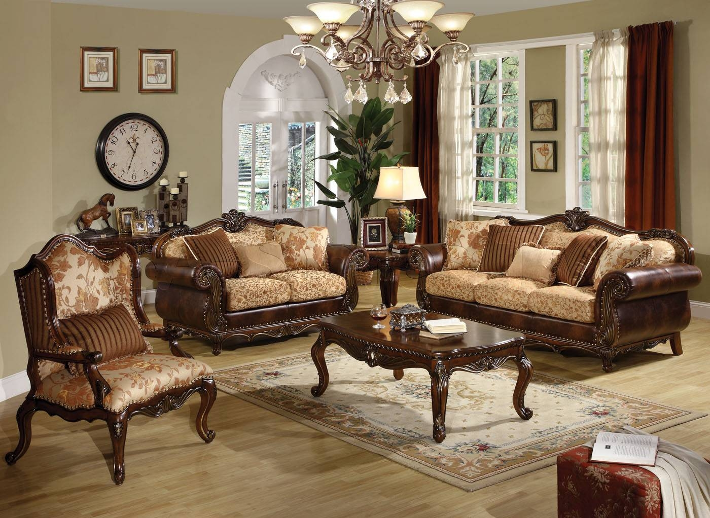 Sofa Sets: Remington Traditional 3 Pc Bonded Leather And Fabric with Traditional Fabric Sofas (Image 18 of 30)