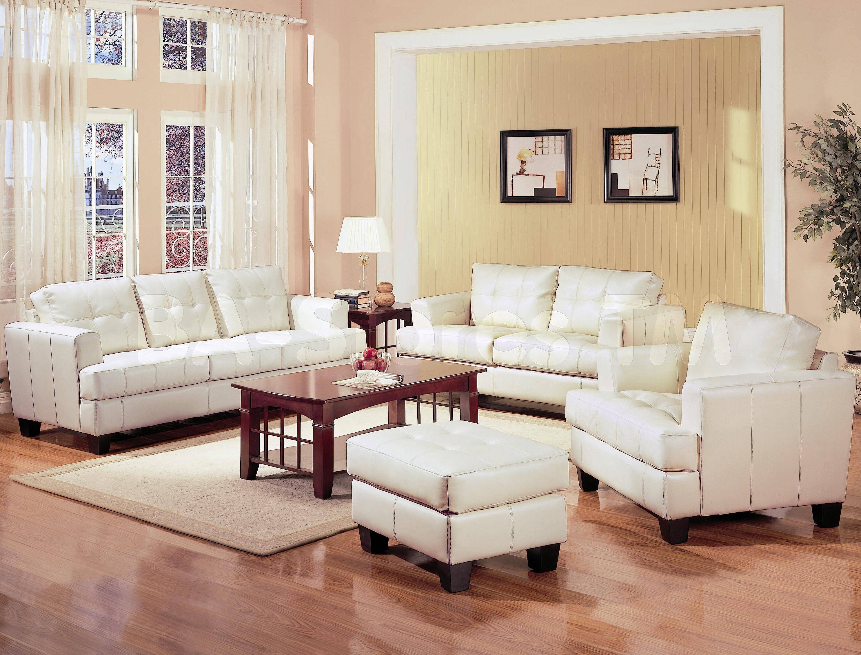 Sofa Sets: Samuel White Leather 3 Pcs Living Room Set (Sofa in Sofa Loveseat And Chairs (Image 26 of 30)