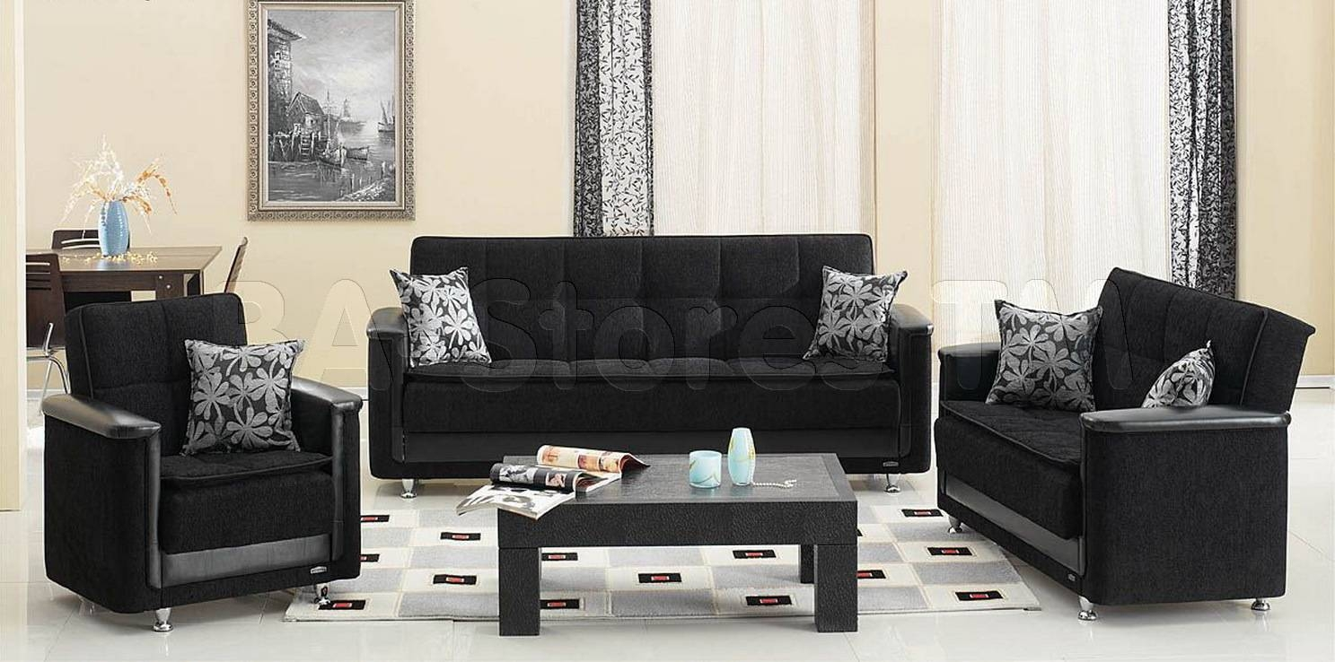 Sofa Sets: Vermont 3 Pc Black Sofa Set (Sofa, Loveseat And Chair for Sofa Loveseat And Chair Set (Image 28 of 30)