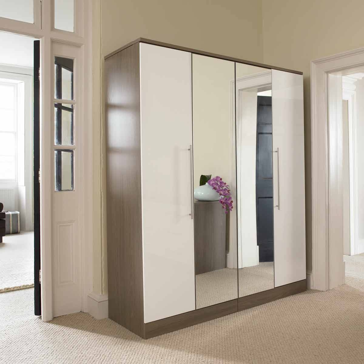 Sofa Wardrobe Closet With Mirror Doors Mirrored | Winafrica pertaining to 4 Door Mirrored Wardrobes (Image 15 of 15)