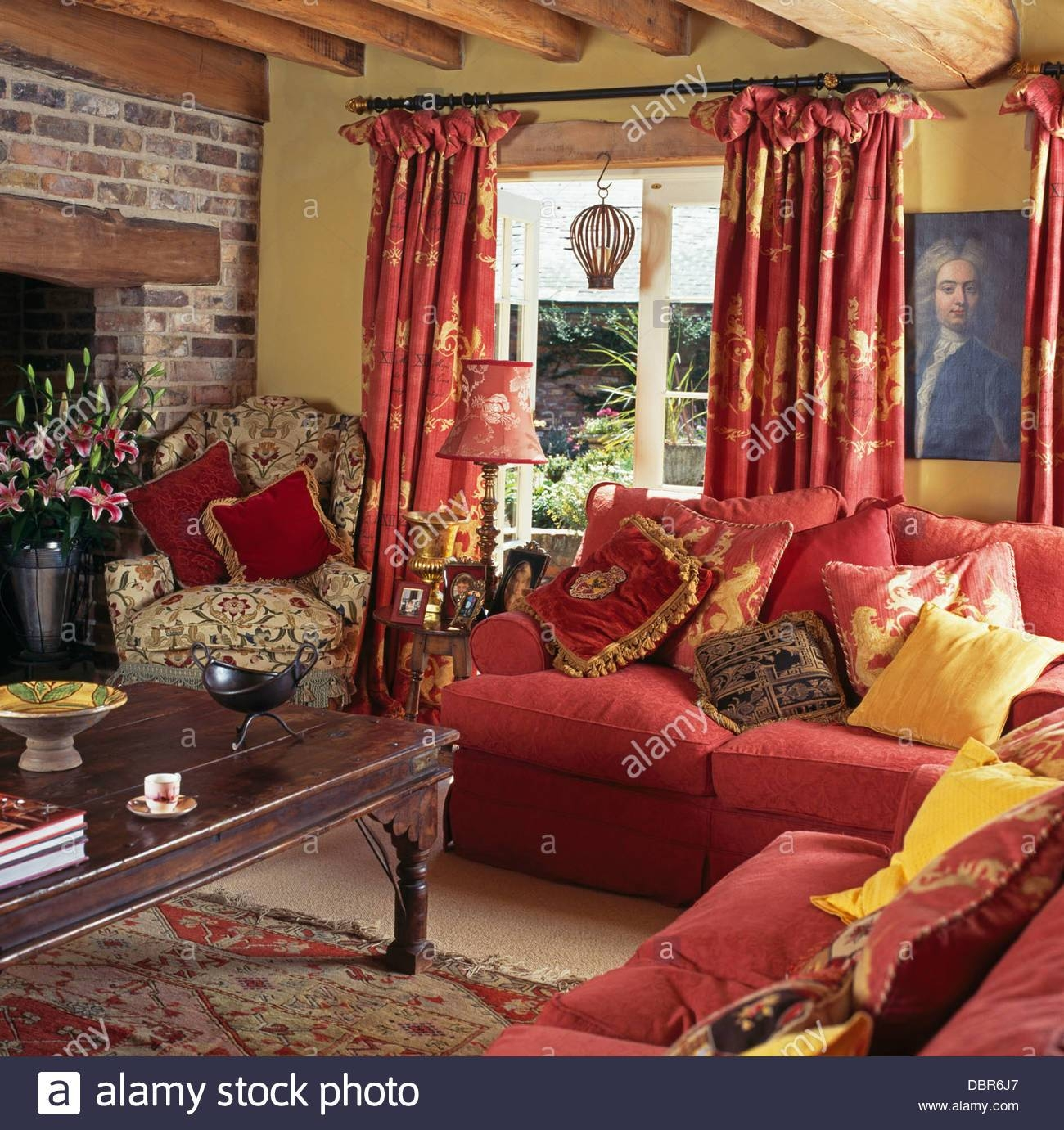 Sofas Armchairs In Living Room Stock Photos & Sofas Armchairs In pertaining to Yellow Chintz Sofas (Image 27 of 30)