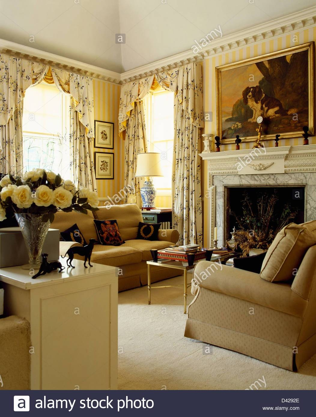 Sofas Armchairs In Living Room Stock Photos & Sofas Armchairs In with Yellow Chintz Sofas (Image 28 of 30)