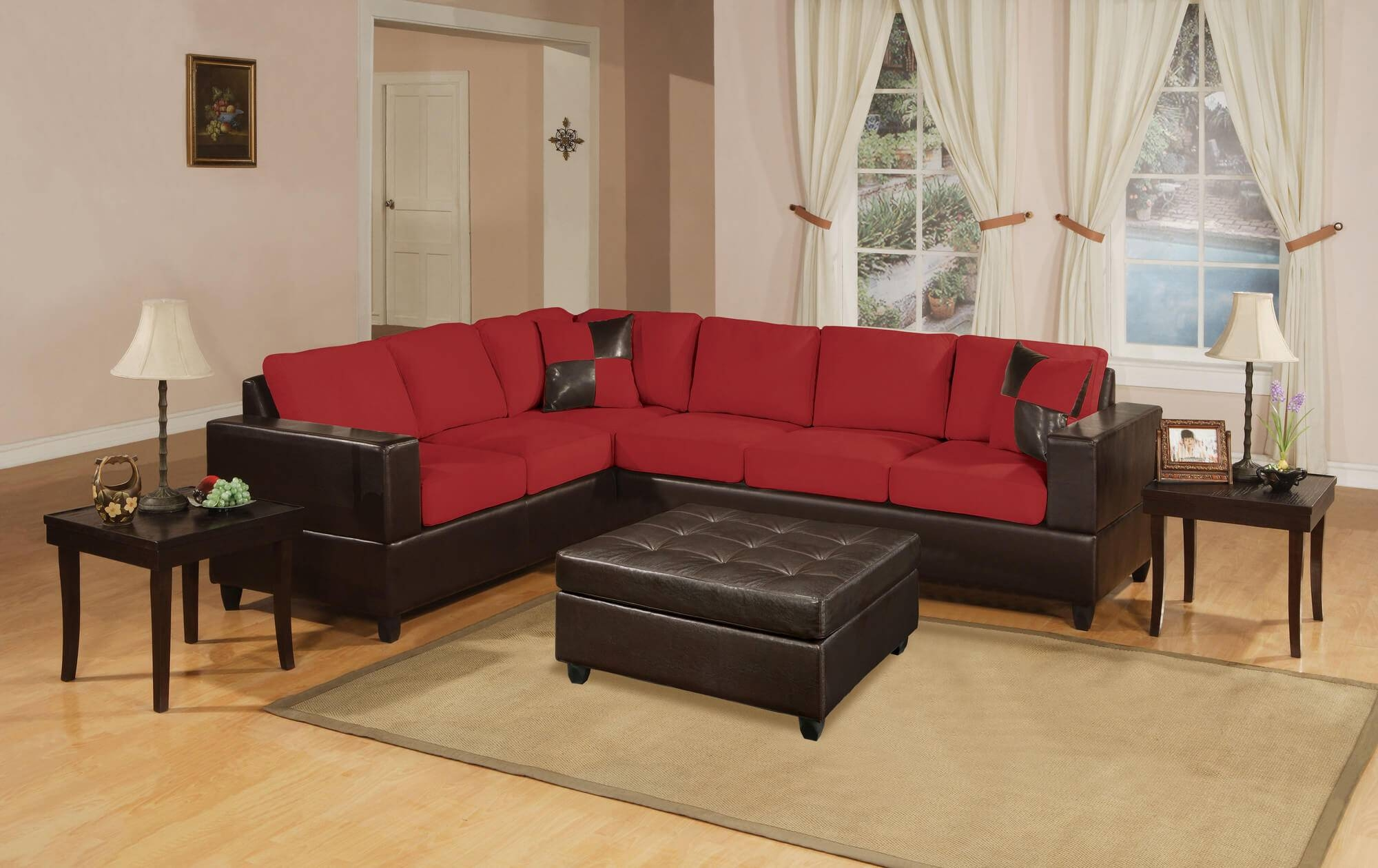 Sofas: Brown Sectional Couch | Sectional Couch Sale | Red with Red Black Sectional Sofa (Image 26 of 30)