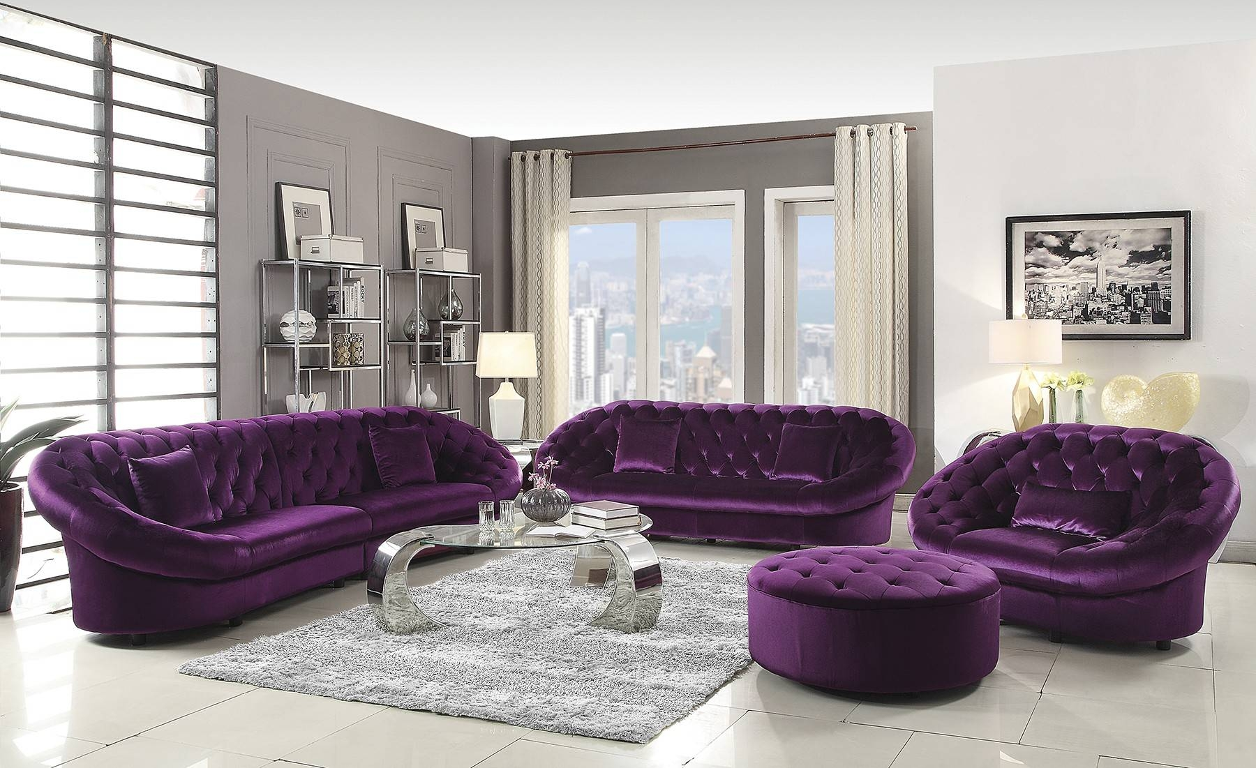 Sofas Center : Alan White Sofa And Purple Loveseatt Darkctional inside Eggplant Sectional Sofa (Image 20 of 30)