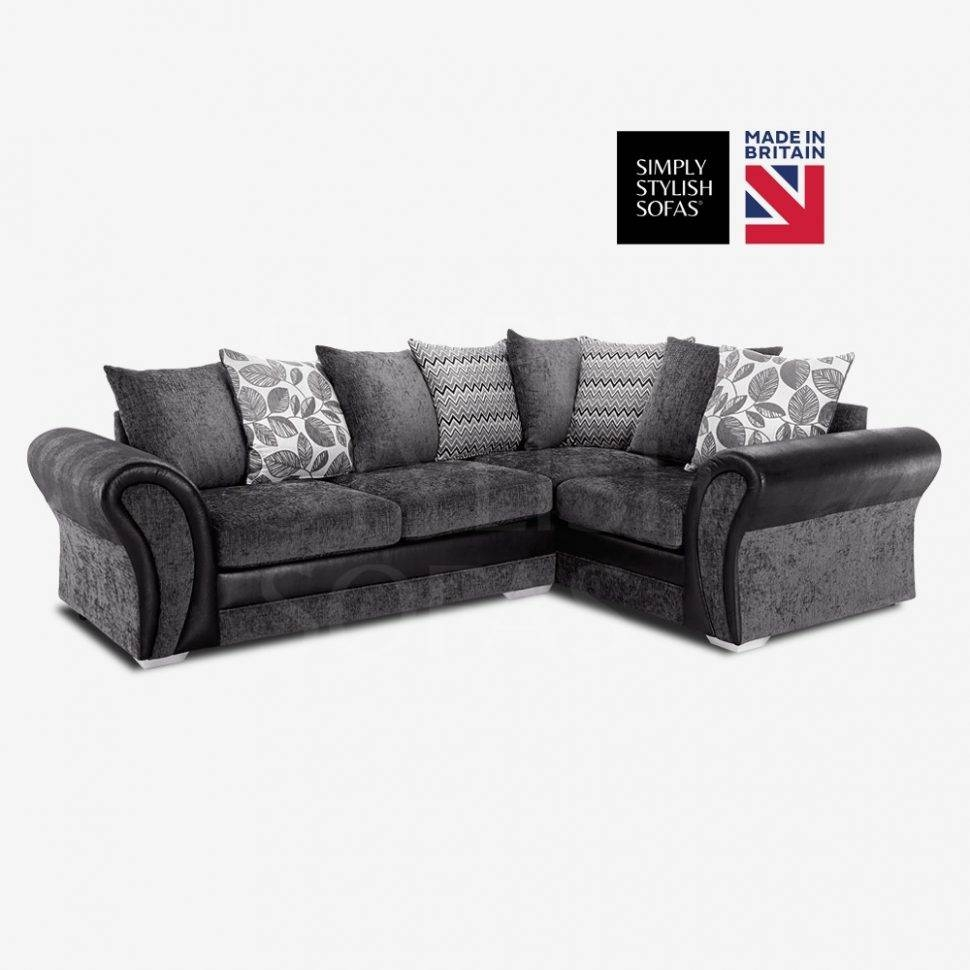 Sofas Center : Arvika Black Grey Chenille Fabric L Shaped Sofa within L Shaped Fabric Sofas (Image 23 of 30)