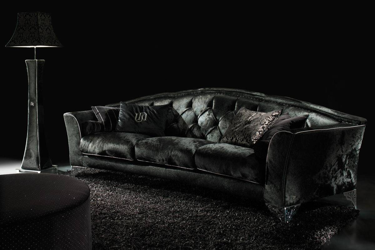Sofas Center : Black Velvet Sofa Loveseat With Crystal Buttons for Black Velvet Sofas (Image 21 of 30)