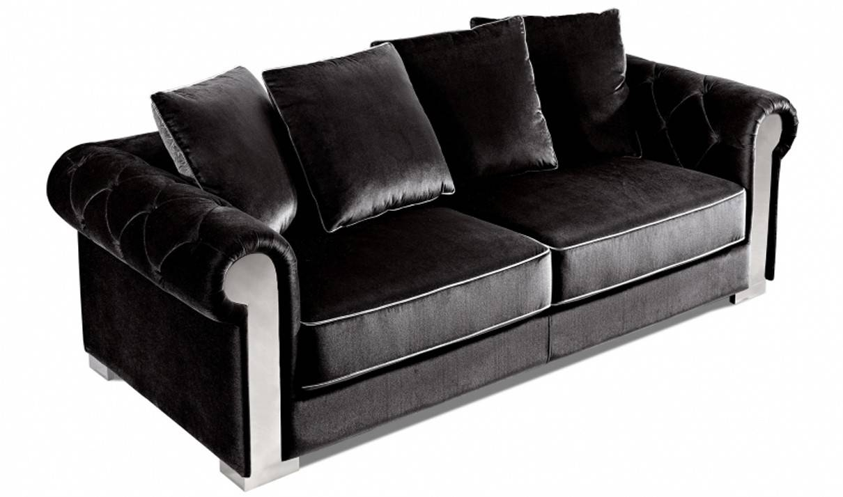 Sofas Center : Black Velvet Sofa Seater Chesterfield Armchair City for Black Velvet Sofas (Image 22 of 30)