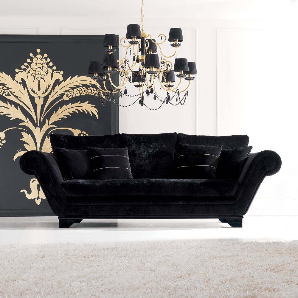Sofas Center : Black Velvet Sofas And Couches Sofa Cover Tufted within Black Velvet Sofas (Image 24 of 30)