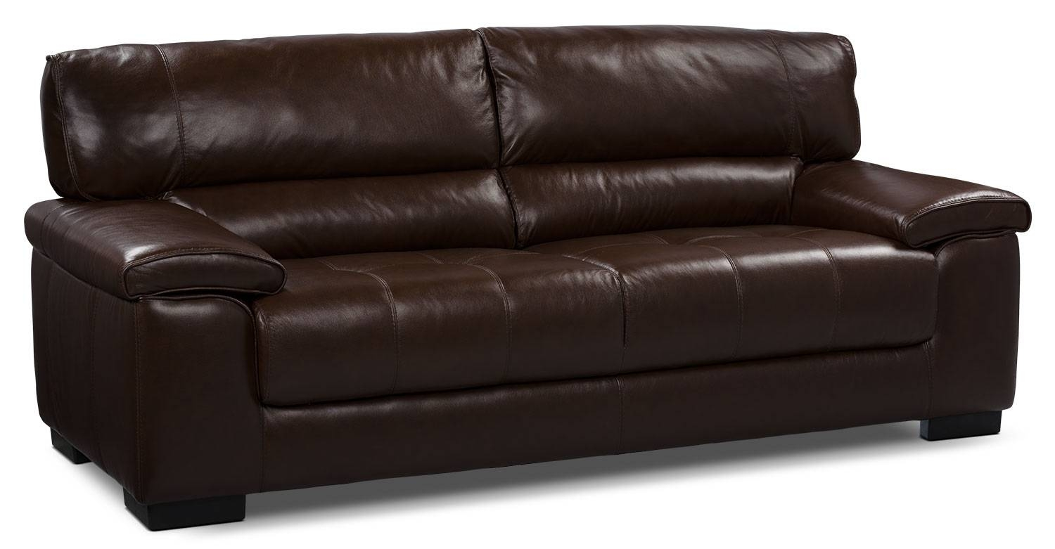 Sofas Center : Chateau Dax Genuine Leather Sofa Dark Brown The with The Brick Leather Sofa (Image 23 of 30)