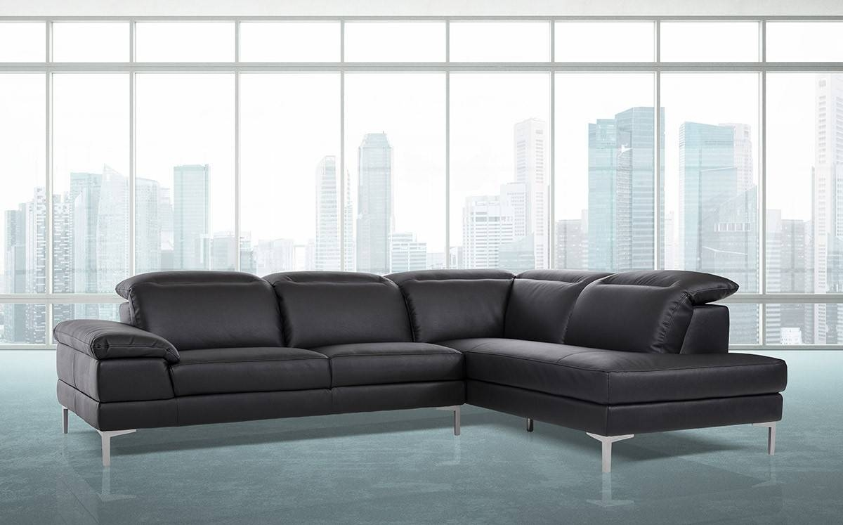 Sofas Center : Dobson Black Leather Modern Sectional Sofa for Dobson Sectional Sofa (Image 20 of 30)