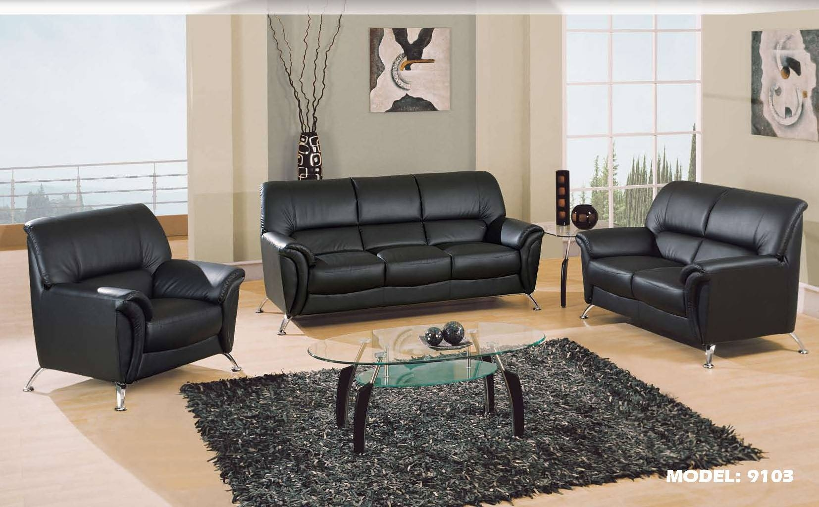 Sofas Center : Emejing Black Leather Couch Set Contemporary With Contemporary Black Leather Sofas (View 23 of 30)
