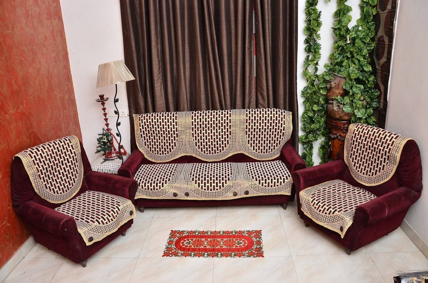 Sofas Center : Expressionhome Piece Mahroon Sofa Cover And Chair intended for Large Sofa Slipcovers (Image 20 of 30)