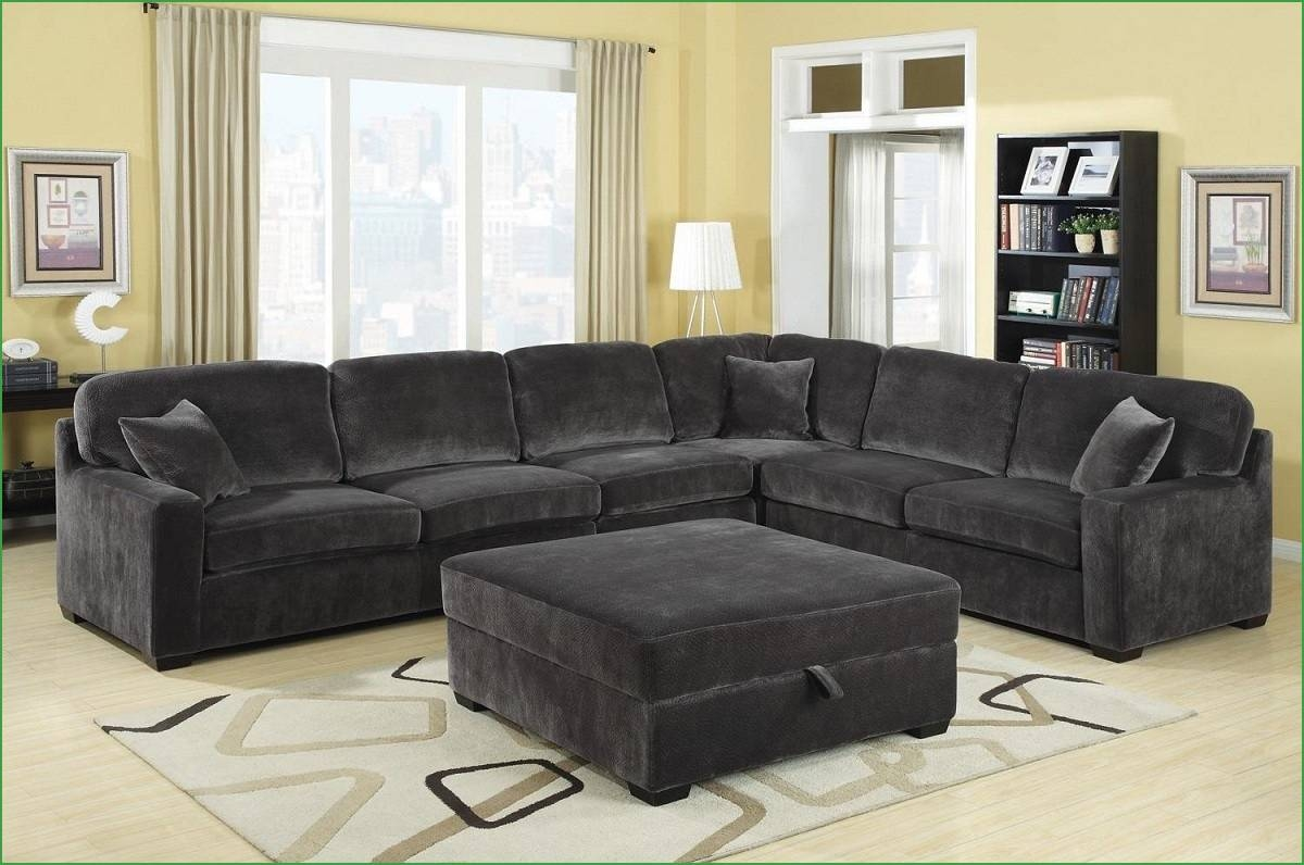 Sofas Center : Gray Charcoal Plush Sectional Sofagray Sofa regarding Chenille Sectional Sofas (Image 25 of 30)