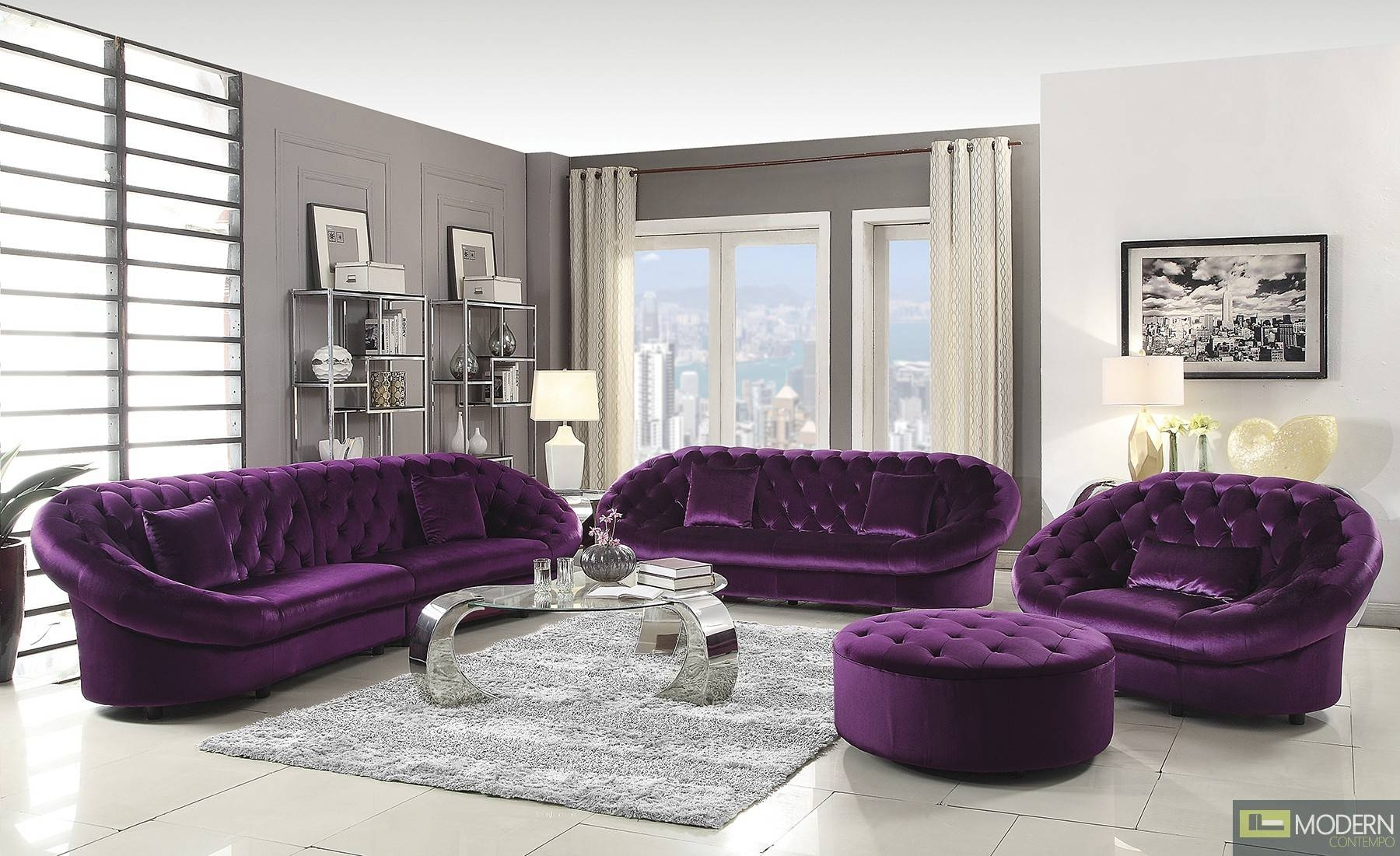 Sofas Center : Grey White And Velvet Sectional Sofa With Storage within Velvet Purple Sofas (Image 28 of 30)
