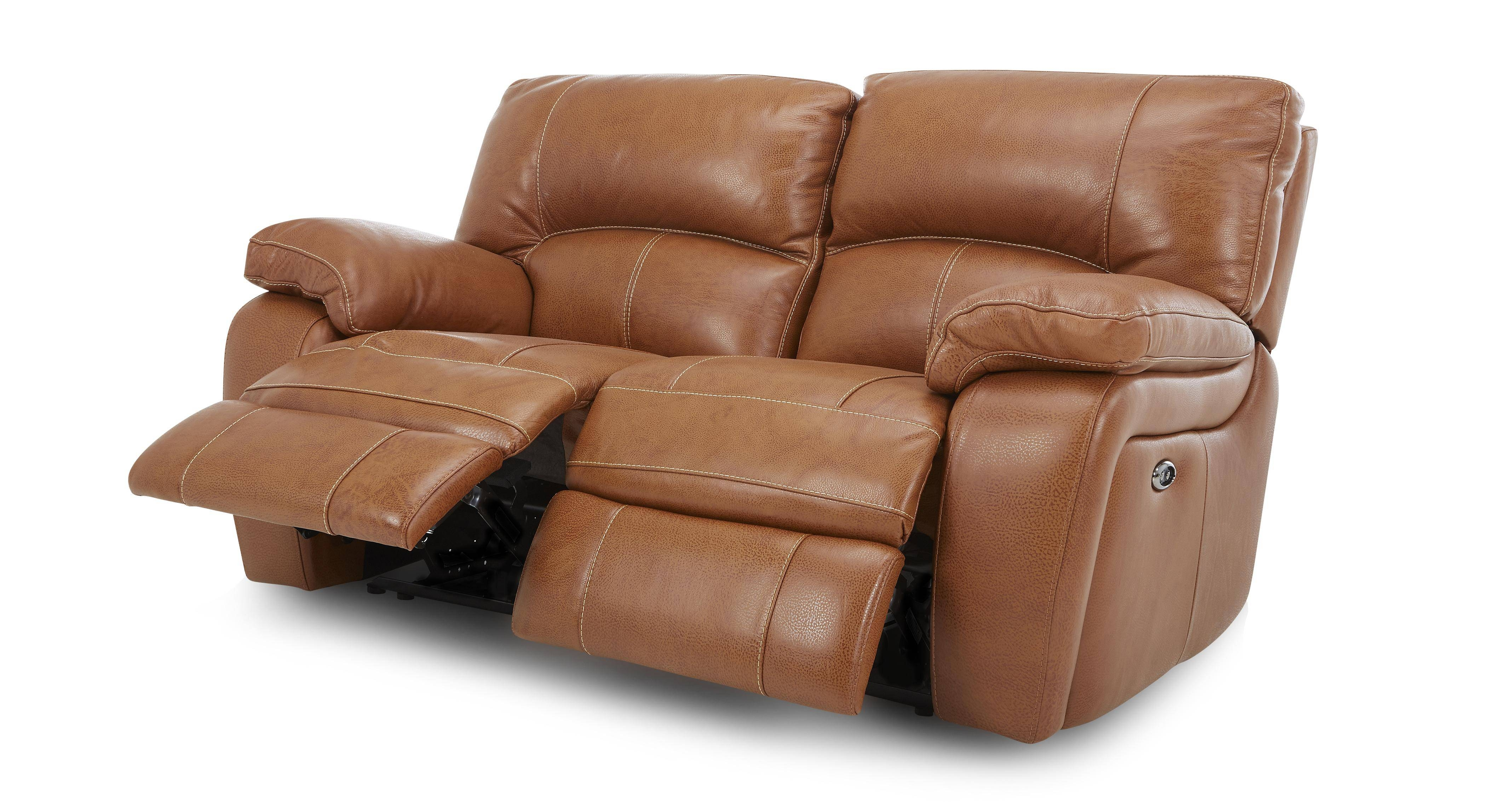 Sofas Center : Hamlin Power Reclining Leather Sofa Tan 42229 inside 2 Seater Recliner Leather Sofas (Image 24 of 30)