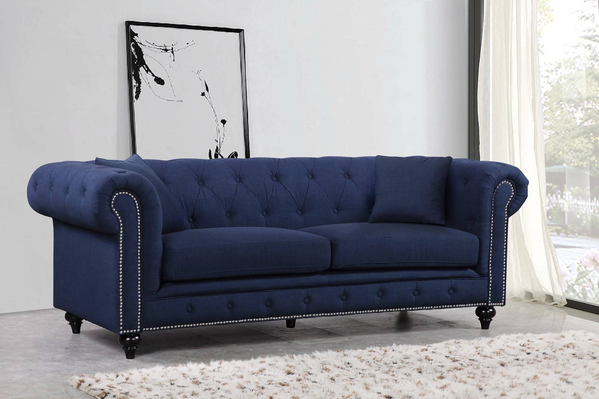 Sofas Center : Navy Blue Tuftedaas With Nailheads Velvetanavy intended for Blue Tufted Sofas (Image 27 of 30)