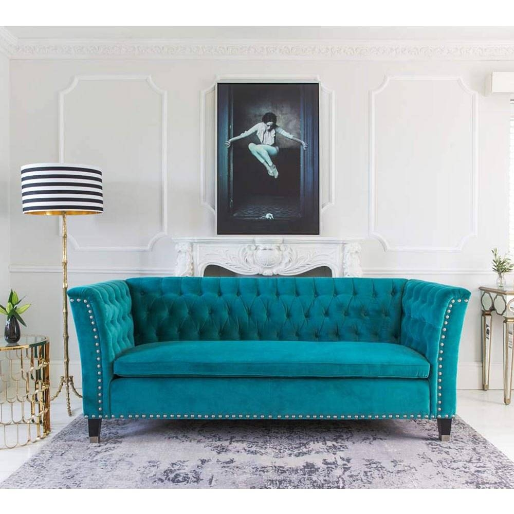Sofas Center : Outstanding Teal Blue Sofa Pictures Concept Pudding in Velvet Sofas Sectionals (Image 19 of 25)