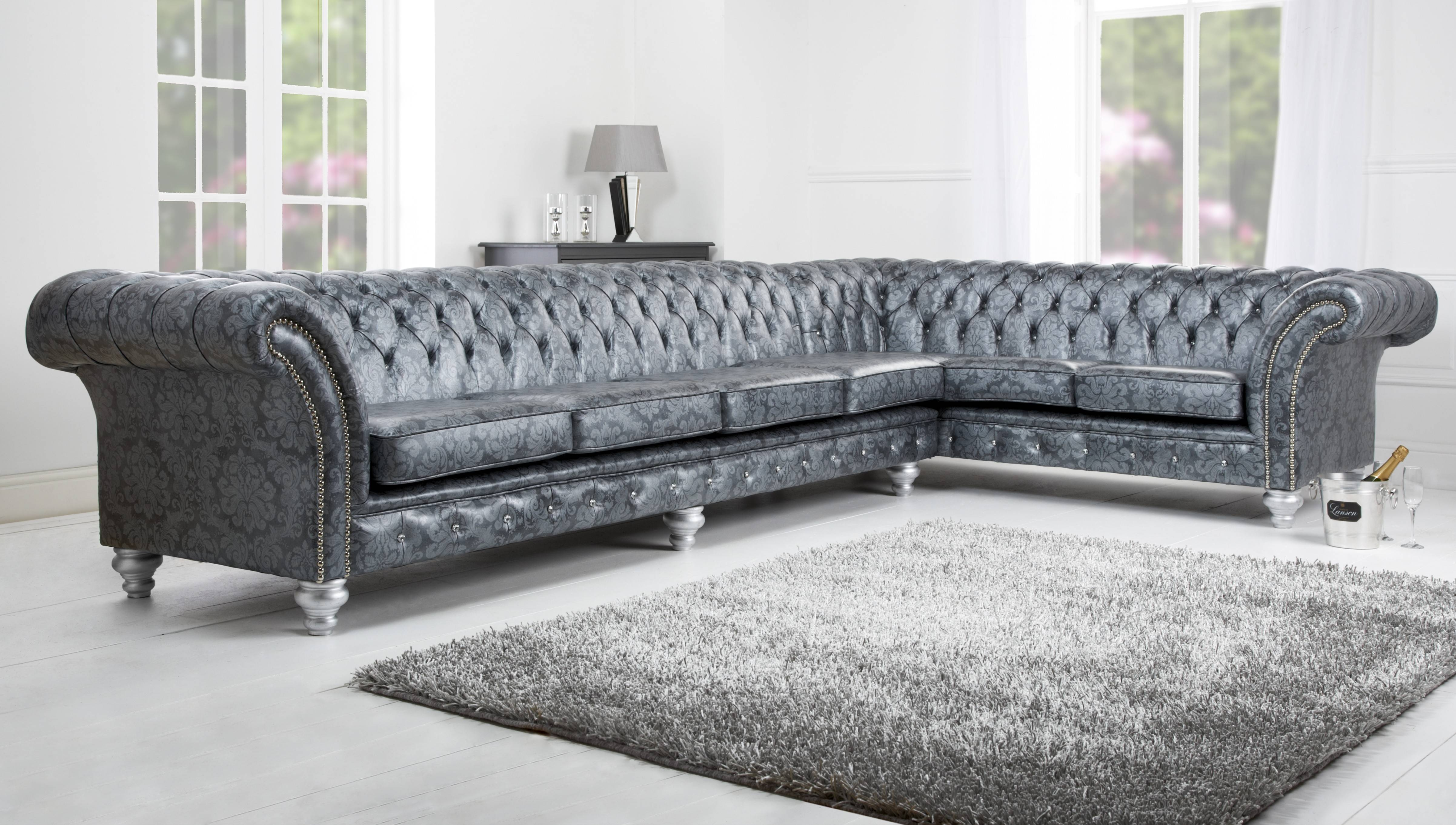 Sofas Center : Oxford Grey Linen Sectional Sofa Tov Furniture throughout Tufted Sectional Sofa Chaise (Image 18 of 25)
