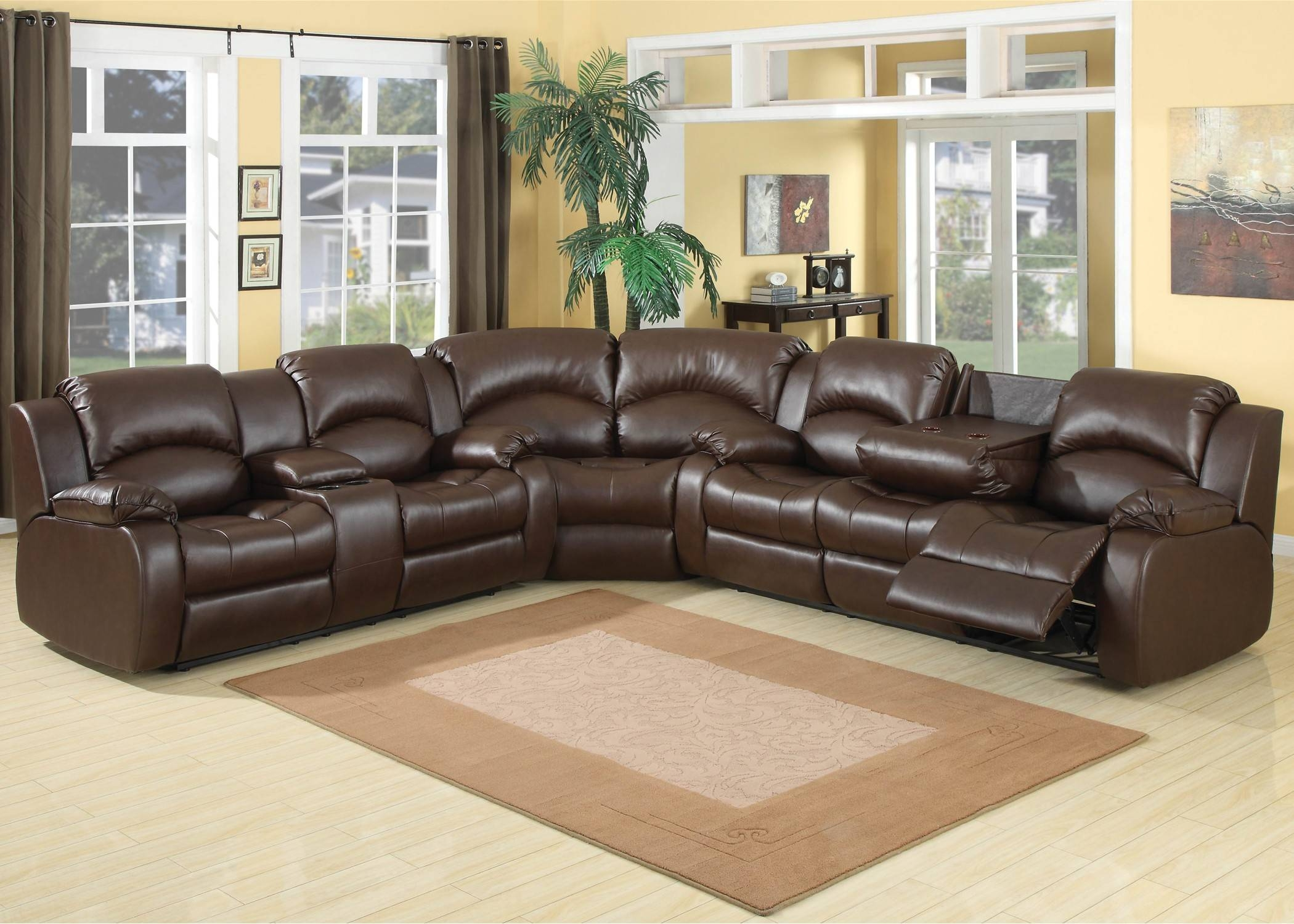 30 Collection of 6 Piece Leather Sectional Sofa