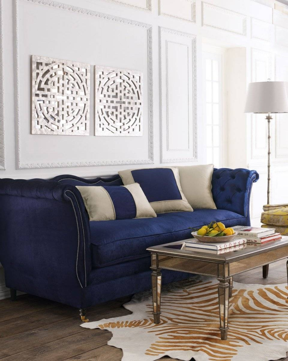 Sofas Center : Royal Blue Velvet Sofa Sectional With Nailhead Trim pertaining to Velvet Sofas Sectionals (Image 21 of 25)