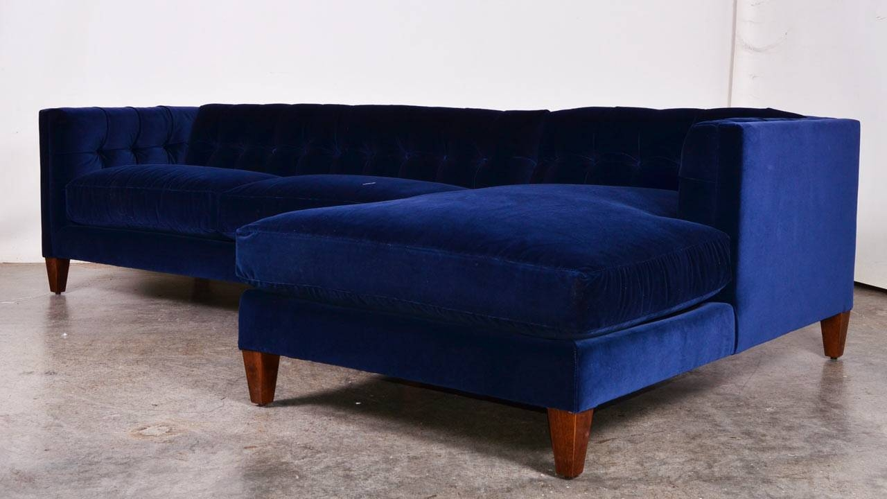 Sofas Center : Royal Blue Velvet Sofa Sectional With Nailhead Trim within Velvet Sofas Sectionals (Image 22 of 25)