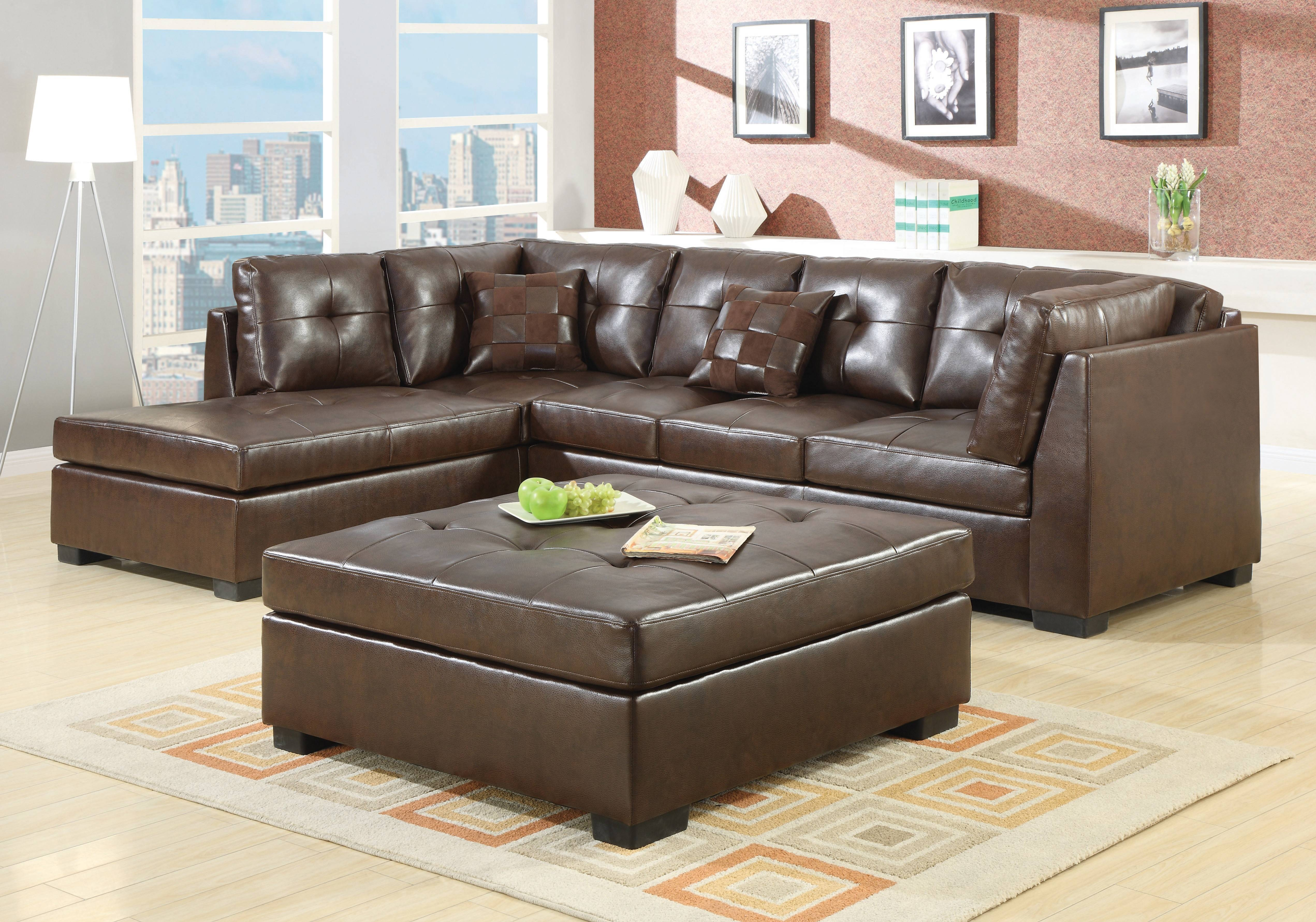 Featured Photo of Abbyson Living Charlotte Dark Brown Sectional Sofa And Ottoman