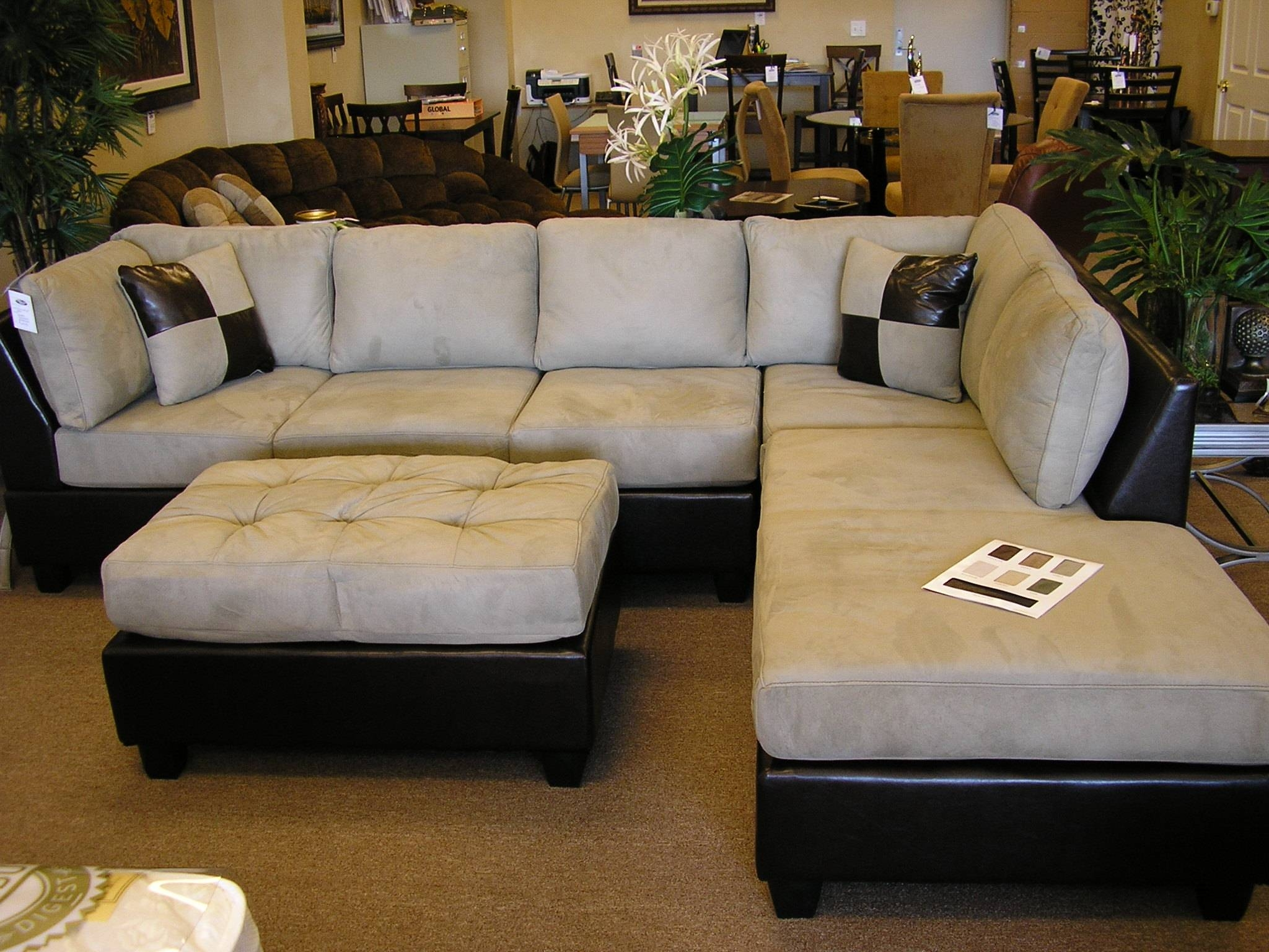 Sofas Center : Shocking Sectional Sofa With Ottoman Photo Ideas for Chenille And Leather Sectional Sofa (Image 27 of 30)