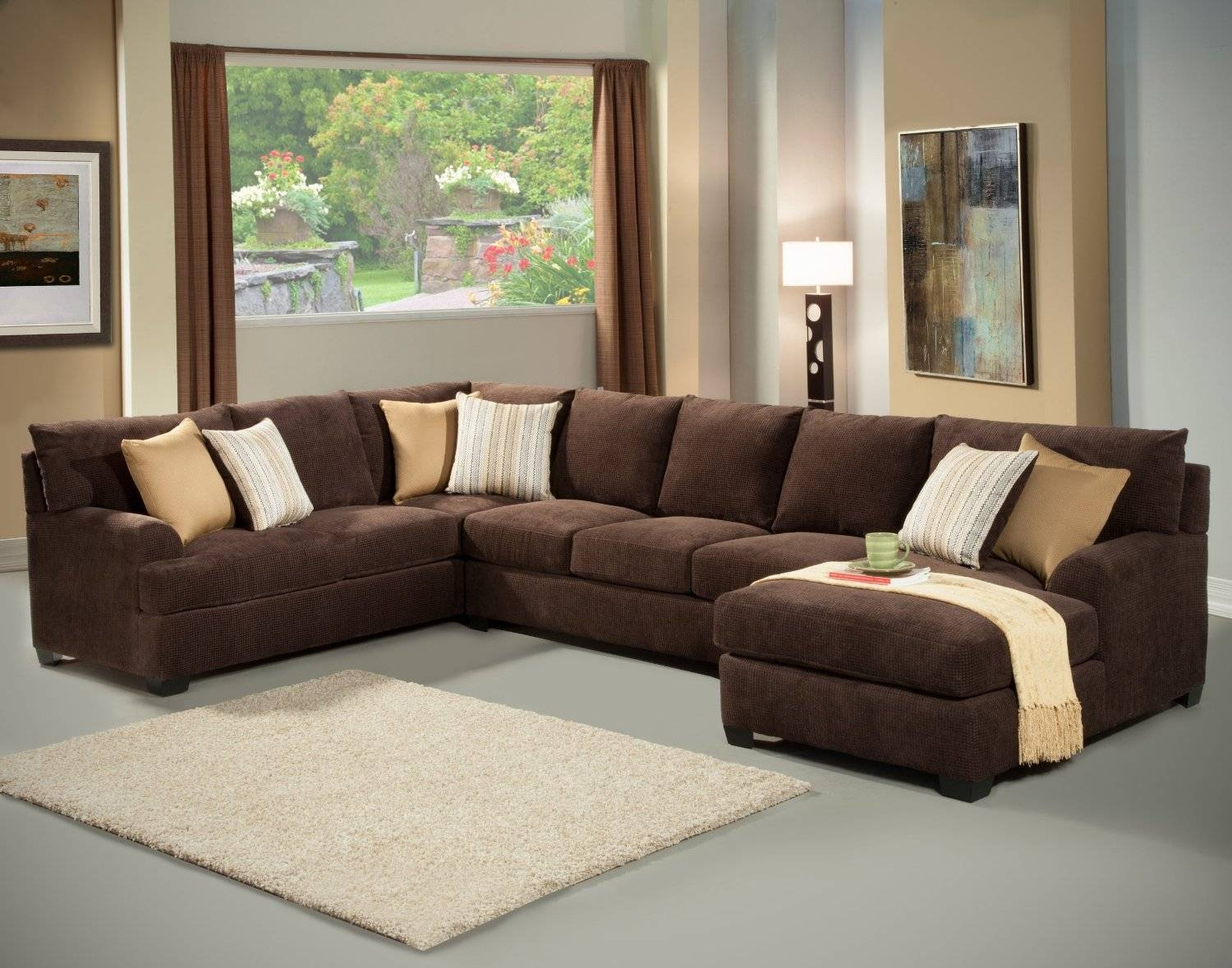 Sofas Center : Simmons Dark Brownrofiber Sectional Sofabrown intended for Chenille And Leather Sectional Sofa (Image 28 of 30)