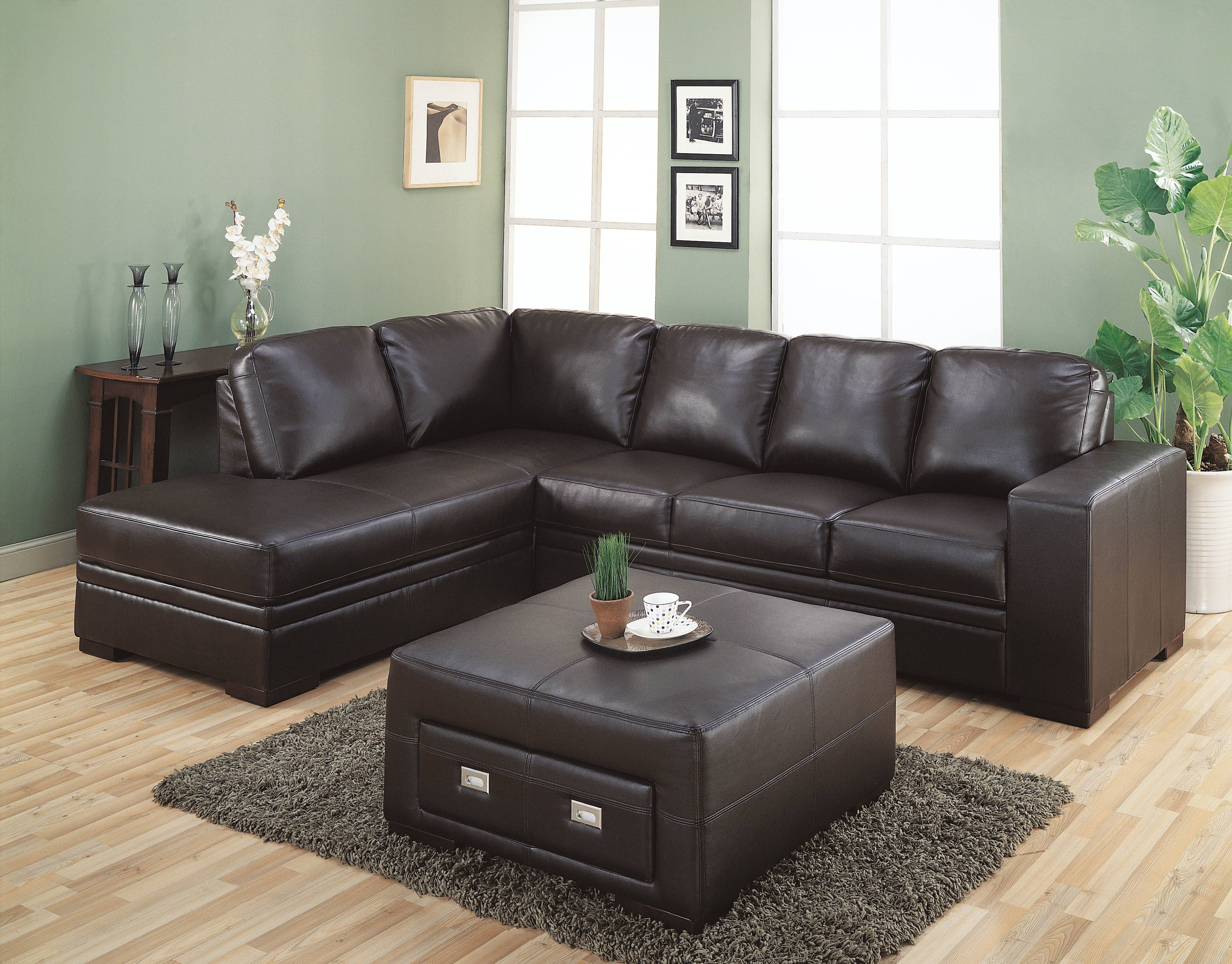 Sofas Center : Simmons Dark Brownrofiber Sectional Sofabrown within Chenille and Leather Sectional Sofa (Image 29 of 30)