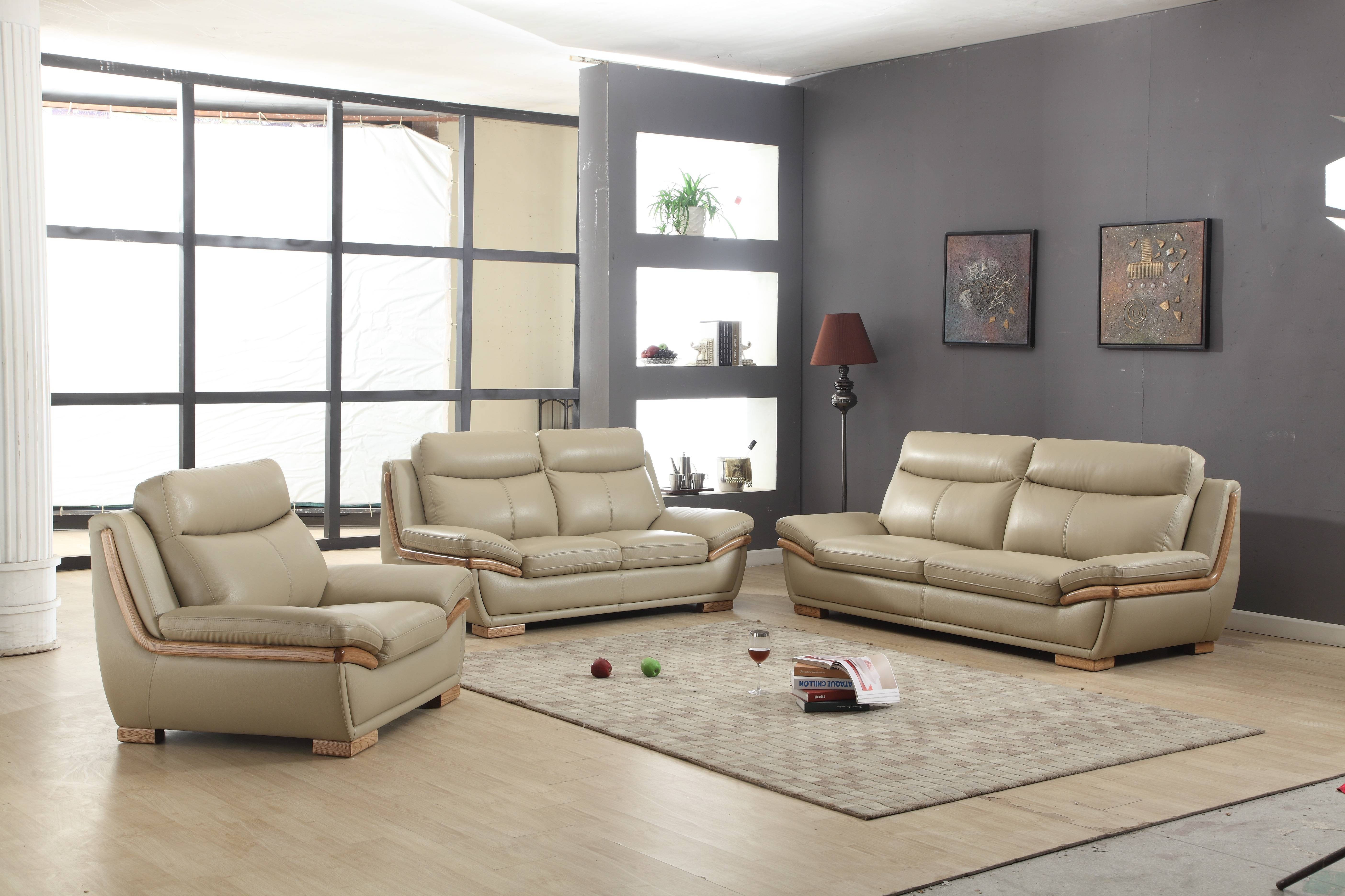 Sofas Center : Sofa Set In Taupe Leather Wood Accent Chkingstone Within European Leather Sofas (Photo 13 of 30)
