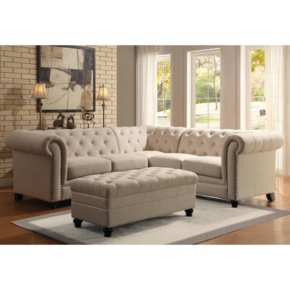 Sofas Center : Tufted Sectional Sofa With Chaise Leather Sofas Set  Throughout Tufted Sectional Sofa Chaise