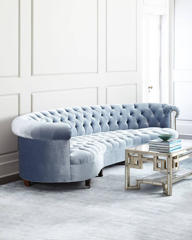 Sofas Center : Zara Sofa Polished Chrome Legs Zuri Blue Fabric within Blue Tufted Sofas (Image 28 of 30)