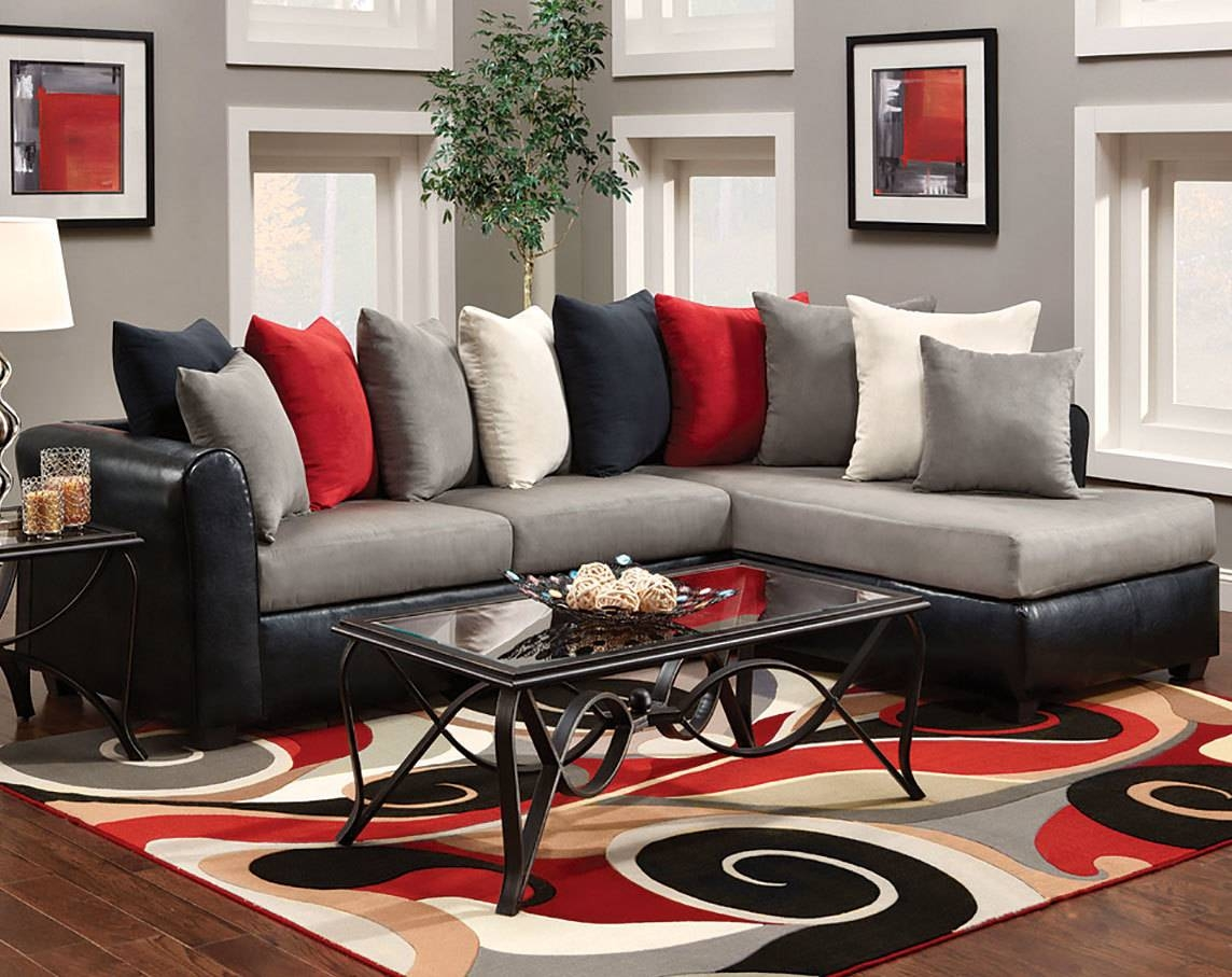 Sofas: Luxury Your Living Room Sofas Design With Red Sectional regarding Red Black Sectional Sofa (Image 27 of 30)