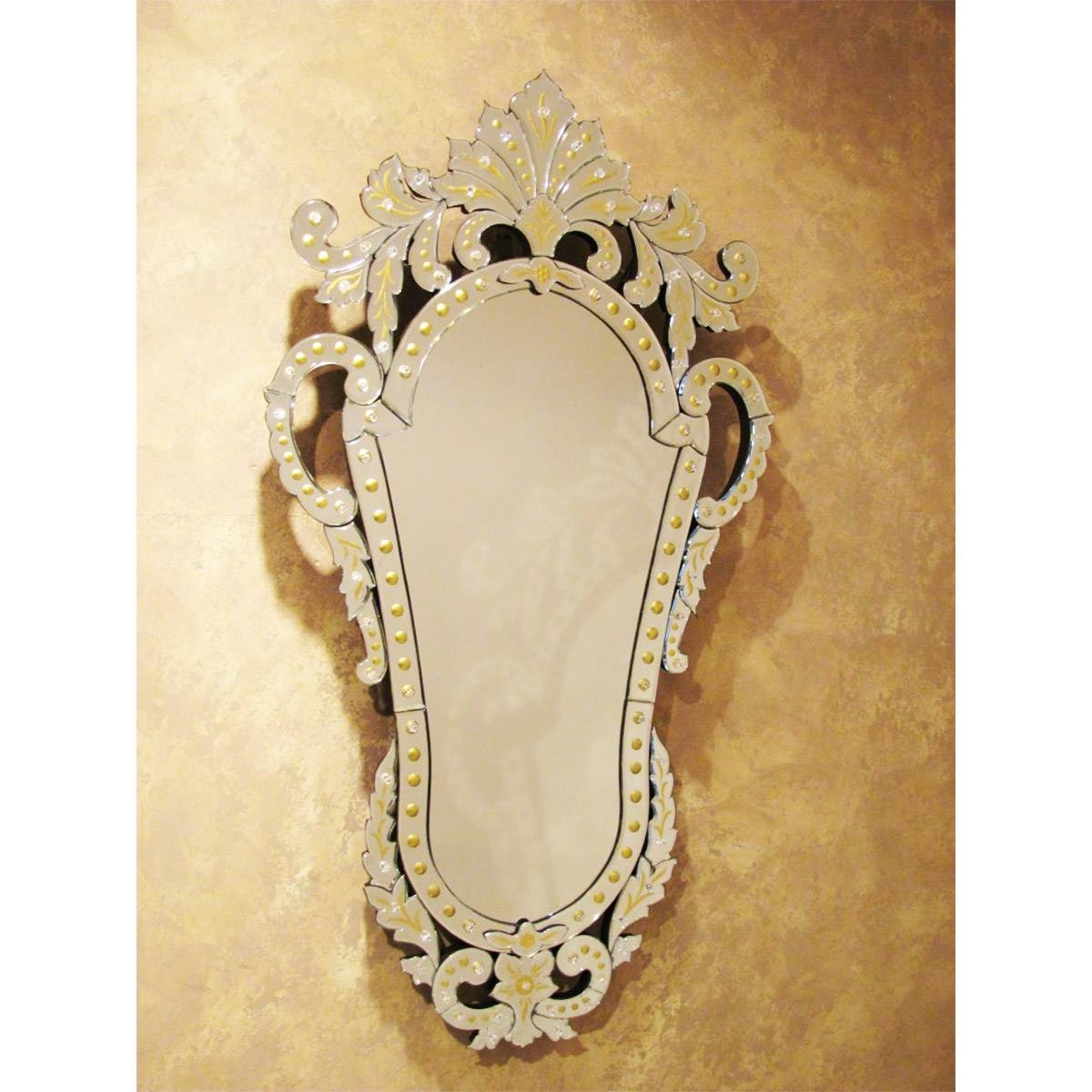 Sofia Amina Venetian Mirror Gold Engraved within Gold Venetian Mirrors (Image 17 of 25)