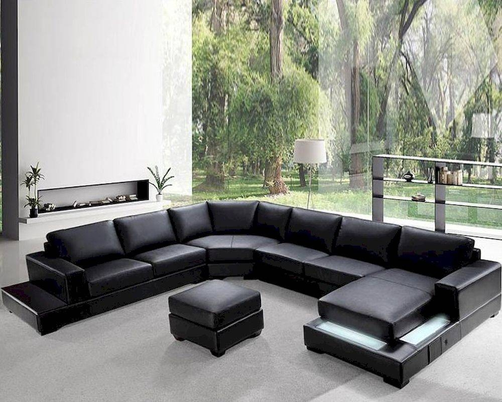 Soft Black Leather Sectional Sofa Set 44L0693 For Soft Sectional Sofas (View 27 of 30)