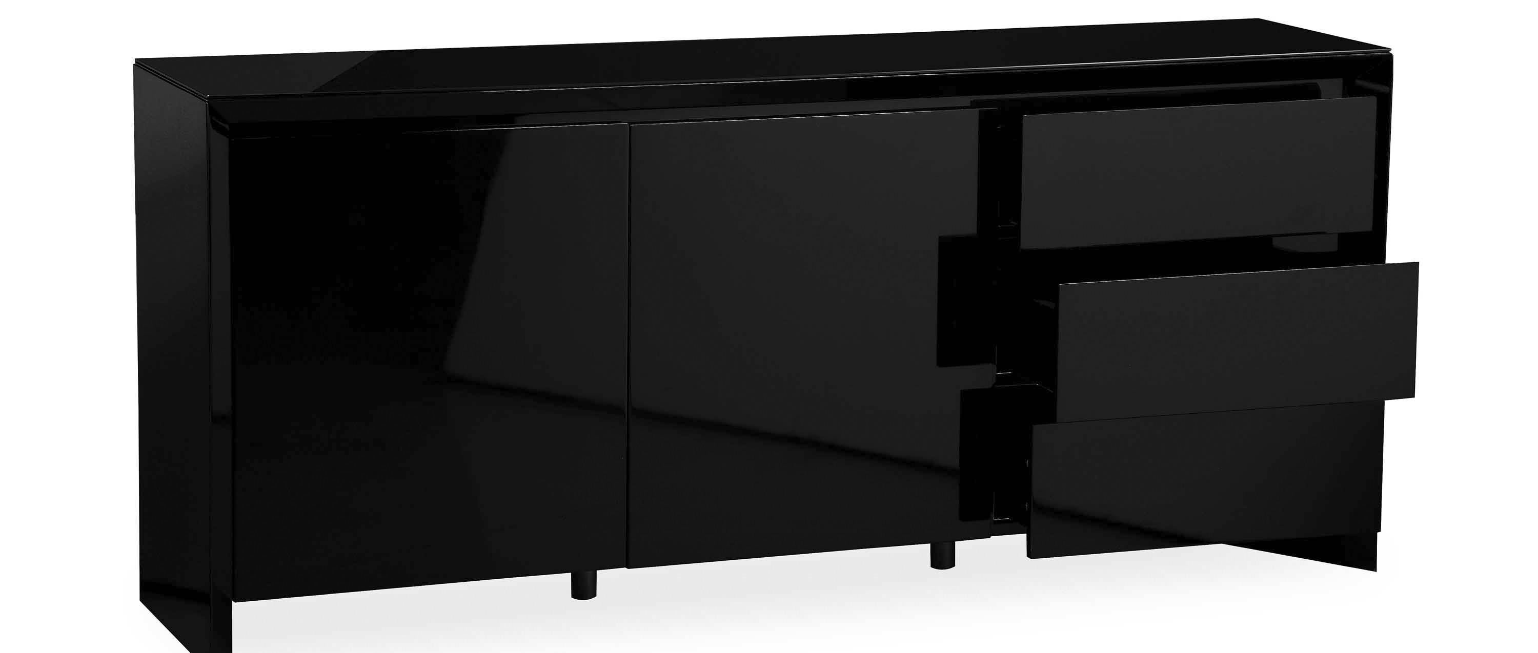 Soho - Extra Large Sideboard - Black High Gloss with Fully Assembled Sideboards (Image 25 of 30)