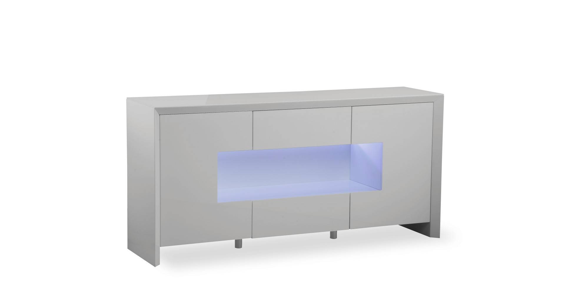 Soho - L.e.d. Display Sideboard - Grey High Gloss throughout Grey Gloss Sideboards (Image 26 of 30)