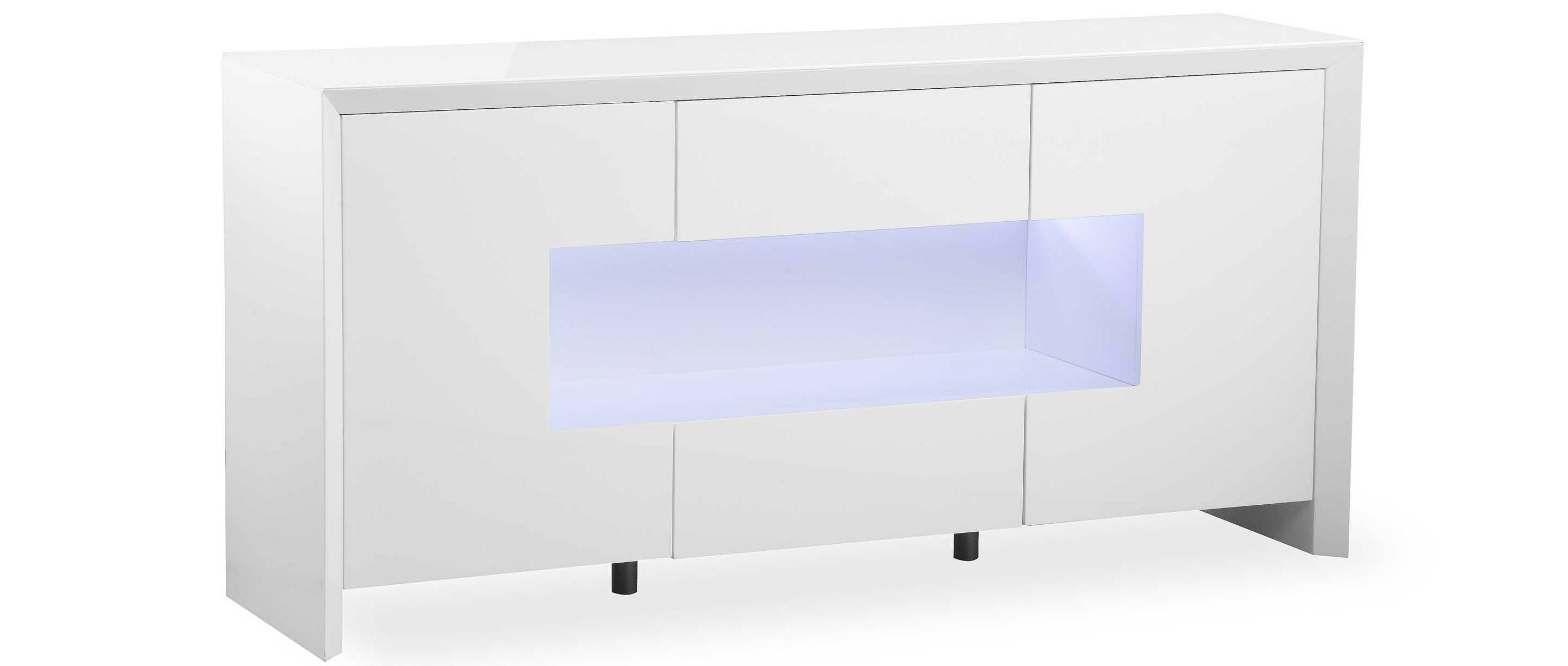 Soho - L.e.d. Display Sideboard - White High Gloss within High Gloss Sideboards (Image 28 of 30)