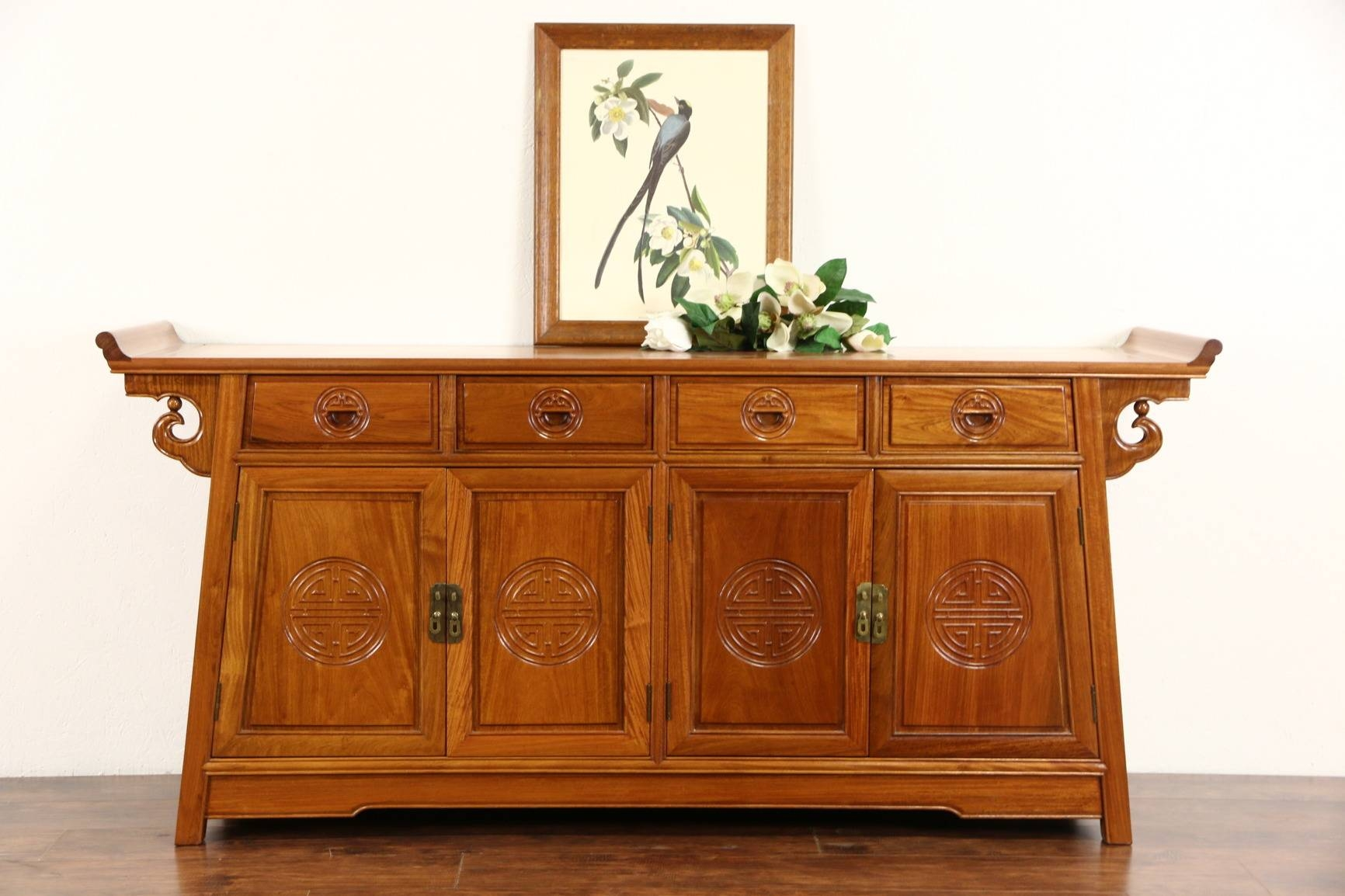 Sold - Asian Vintage Hand Carved Rosewood Sideboard Server Or pertaining to Asian Sideboards (Image 24 of 30)