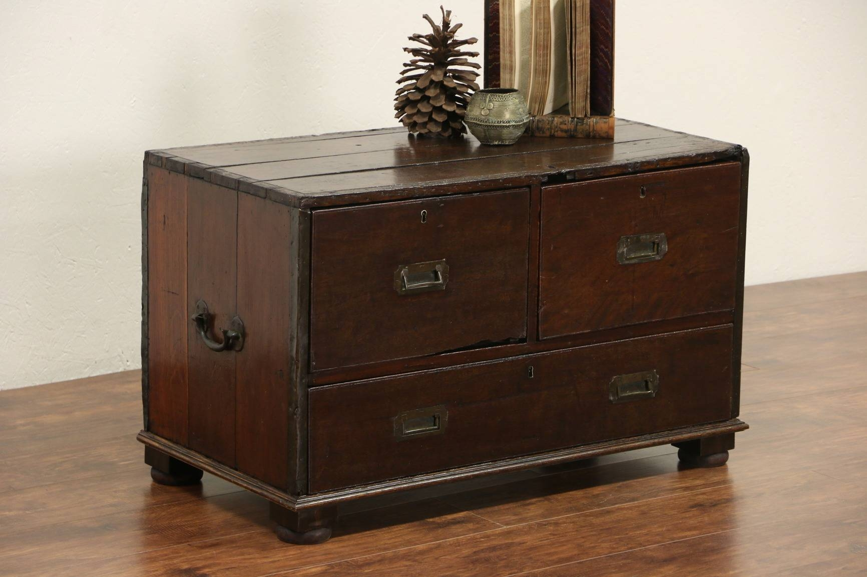 Sold - British India 1860's Antique Oak Officer Campaign Chest, 3 inside Campaign Coffee Tables (Image 26 of 30)