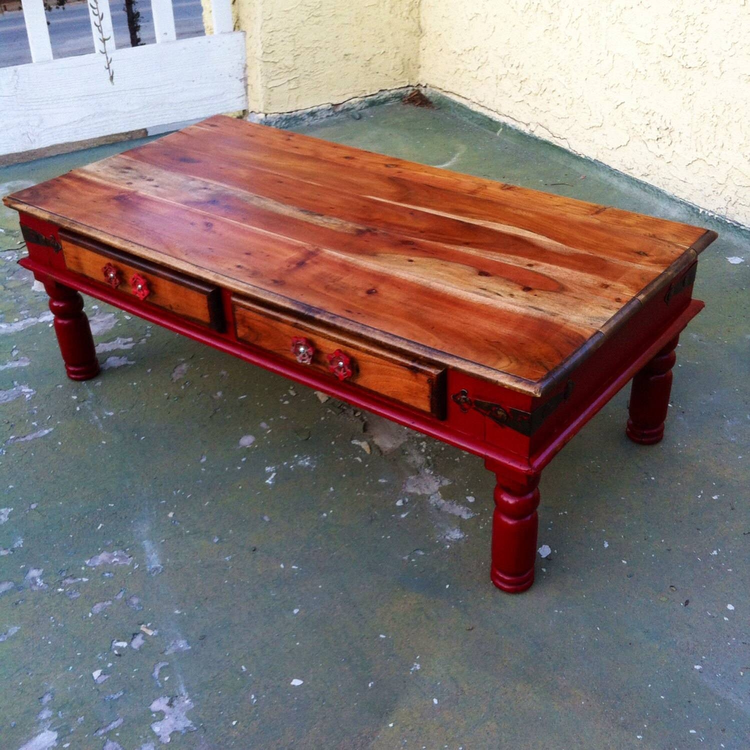 Sold Farmhouse Red Coffee Table Shabby Chic Coffee Table with White Retro Coffee Tables (Image 24 of 30)