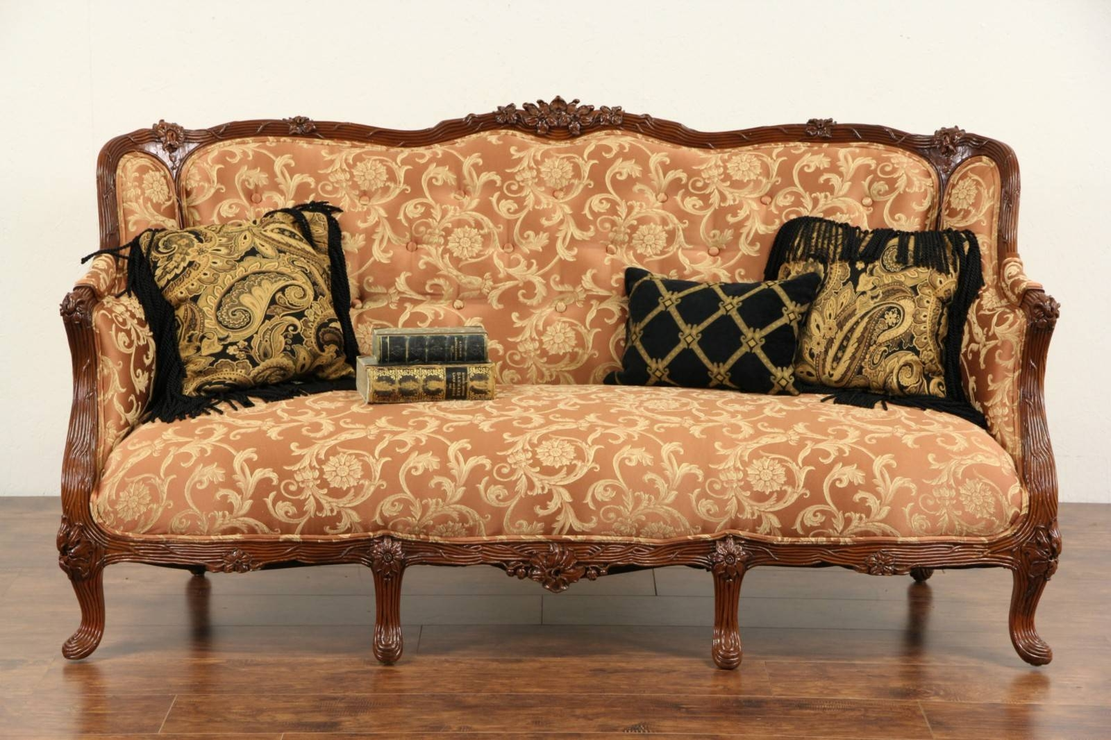 Sold - French Style 1930's Carved Vintage Sofa, New Upholstery throughout 1930S Couch (Image 26 of 30)
