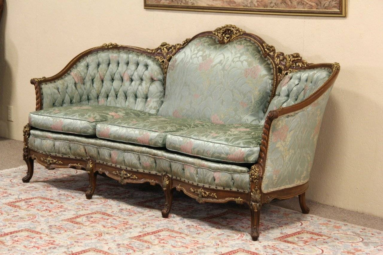 Sold - French Style Carved 1940's Vintage Sofa, Original - Harp throughout French Style Sofa (Image 23 of 25)