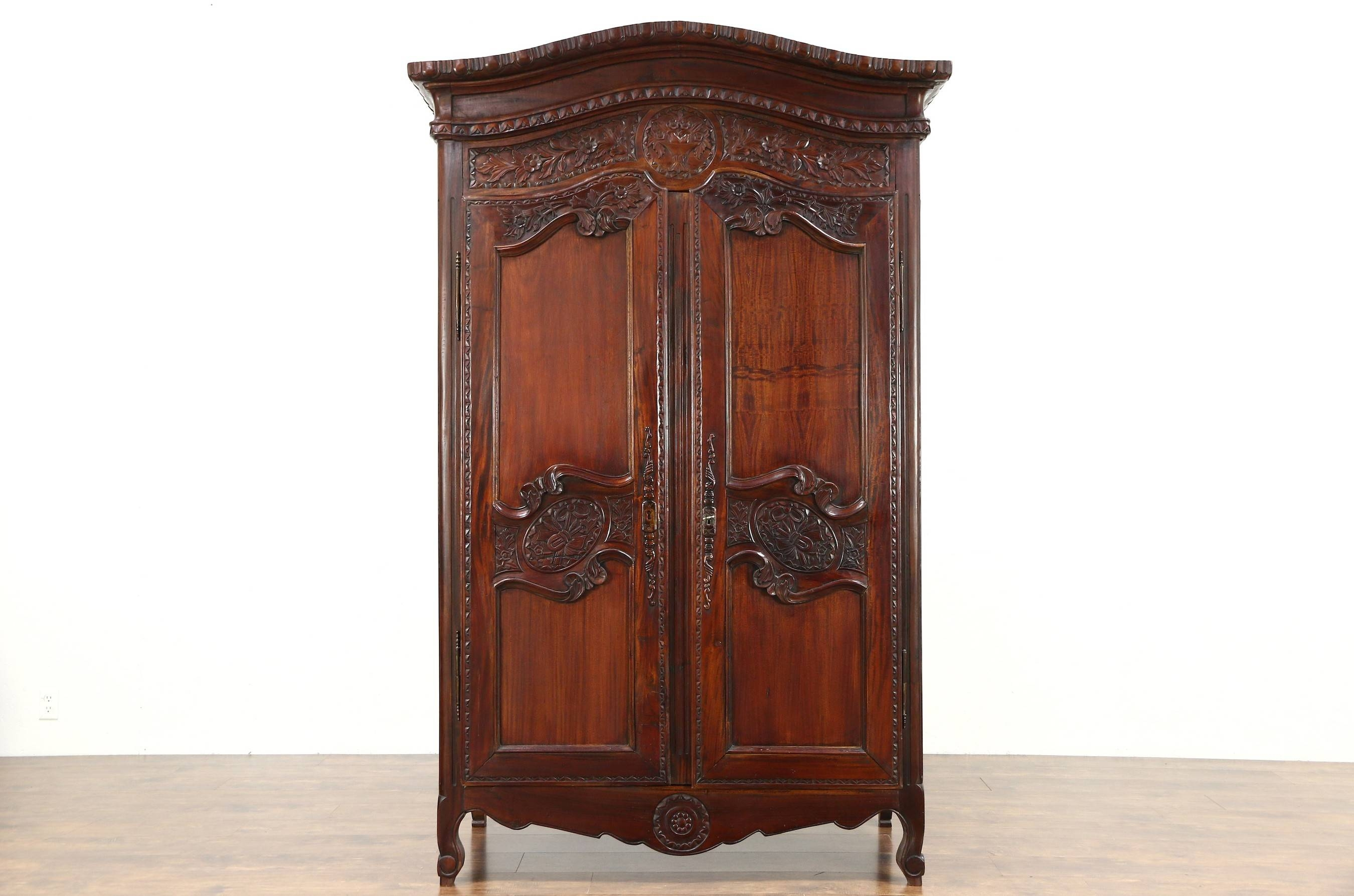 Sold - French Style Hand Carved Mahogany Vintage Armoire, Wardrobe within Vintage Style Wardrobes (Image 10 of 15)