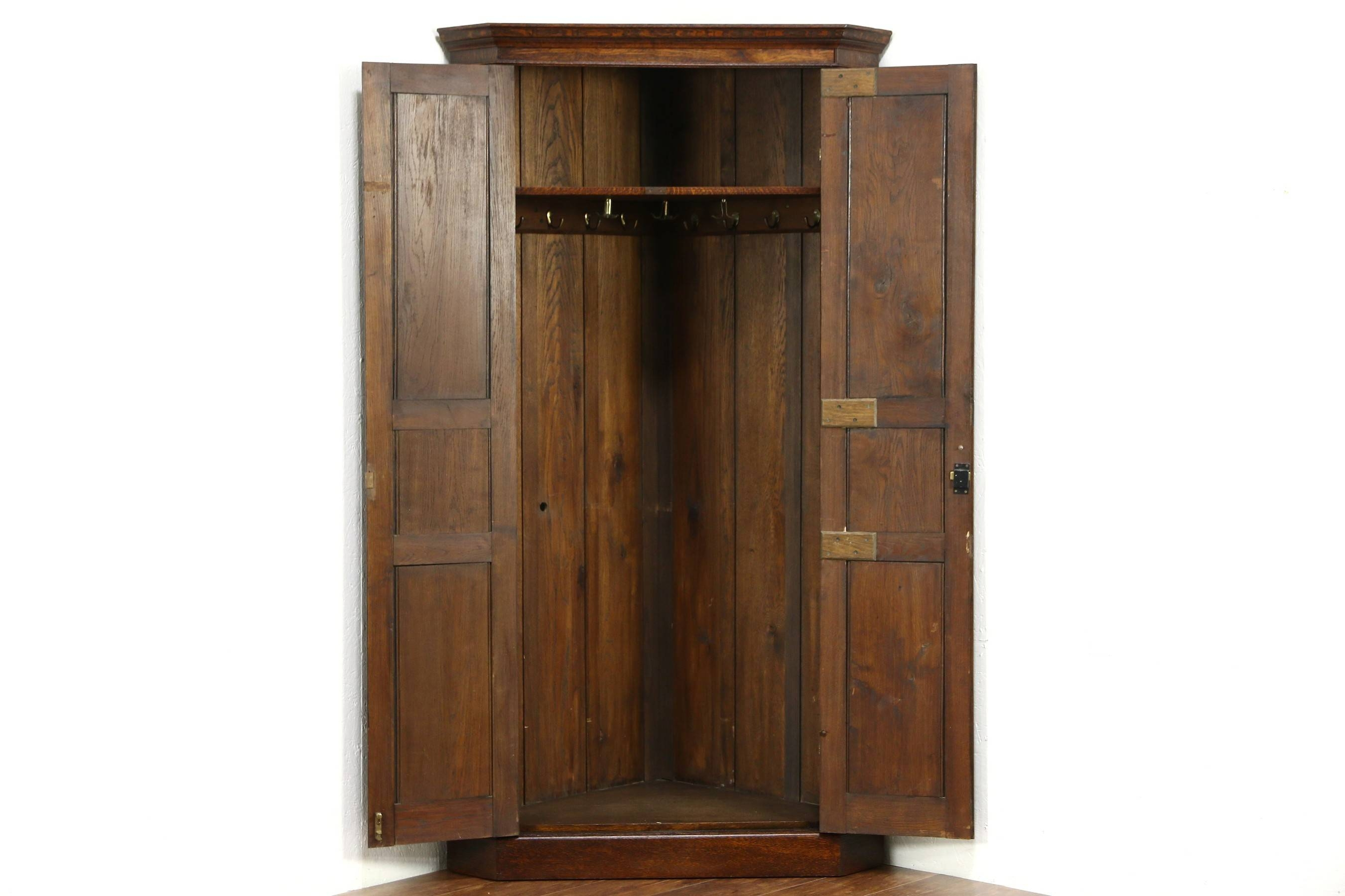Sold - Oak 1910 Antique Corner Cabinet Armoire, Closet Or Wardrobe with Oak Corner Wardrobes (Image 14 of 15)
