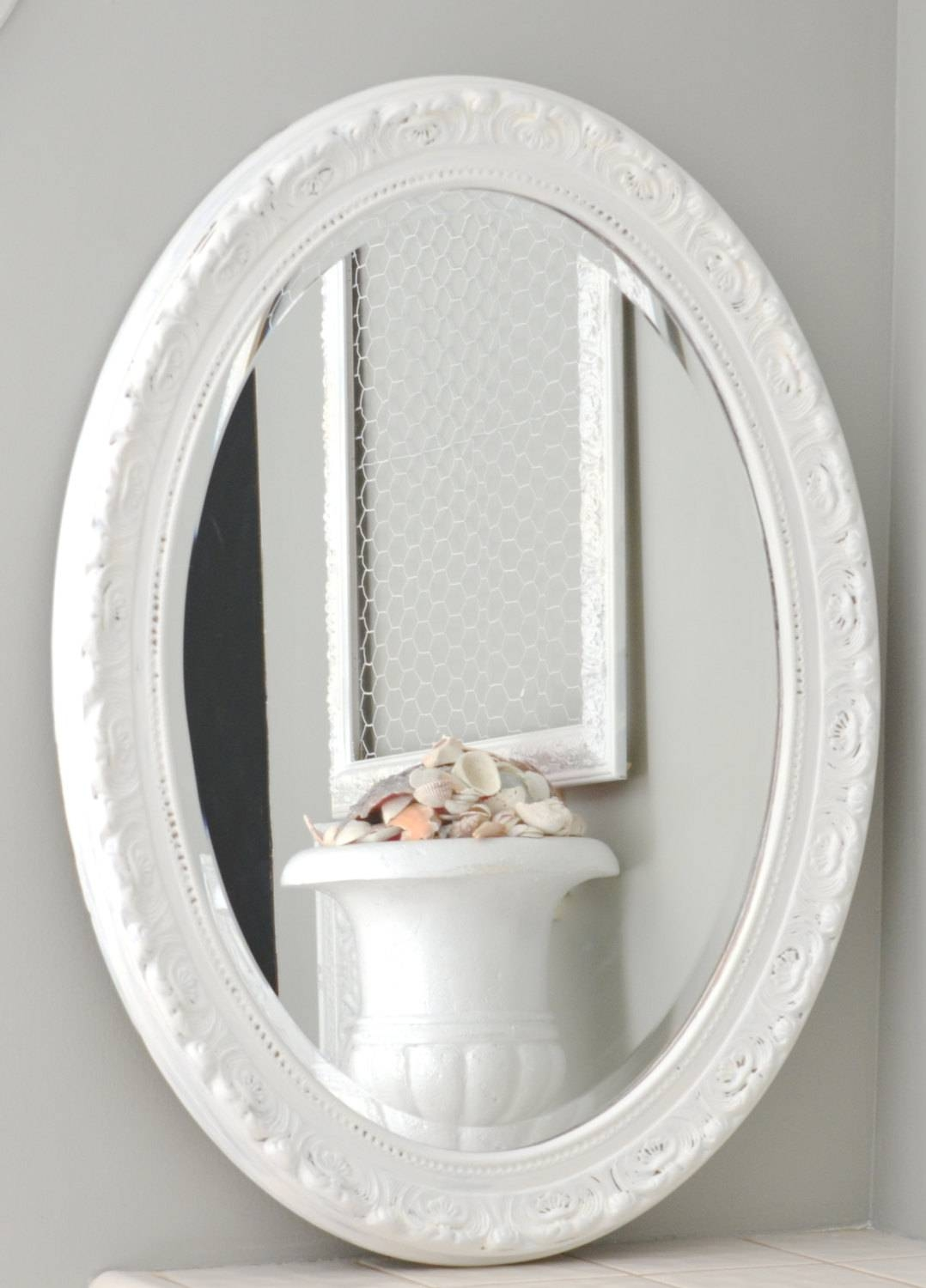 Sold-Shabby Chic White Oval Mirror Large Oval Shabby Chic throughout Oval Shabby Chic Mirrors (Image 22 of 25)
