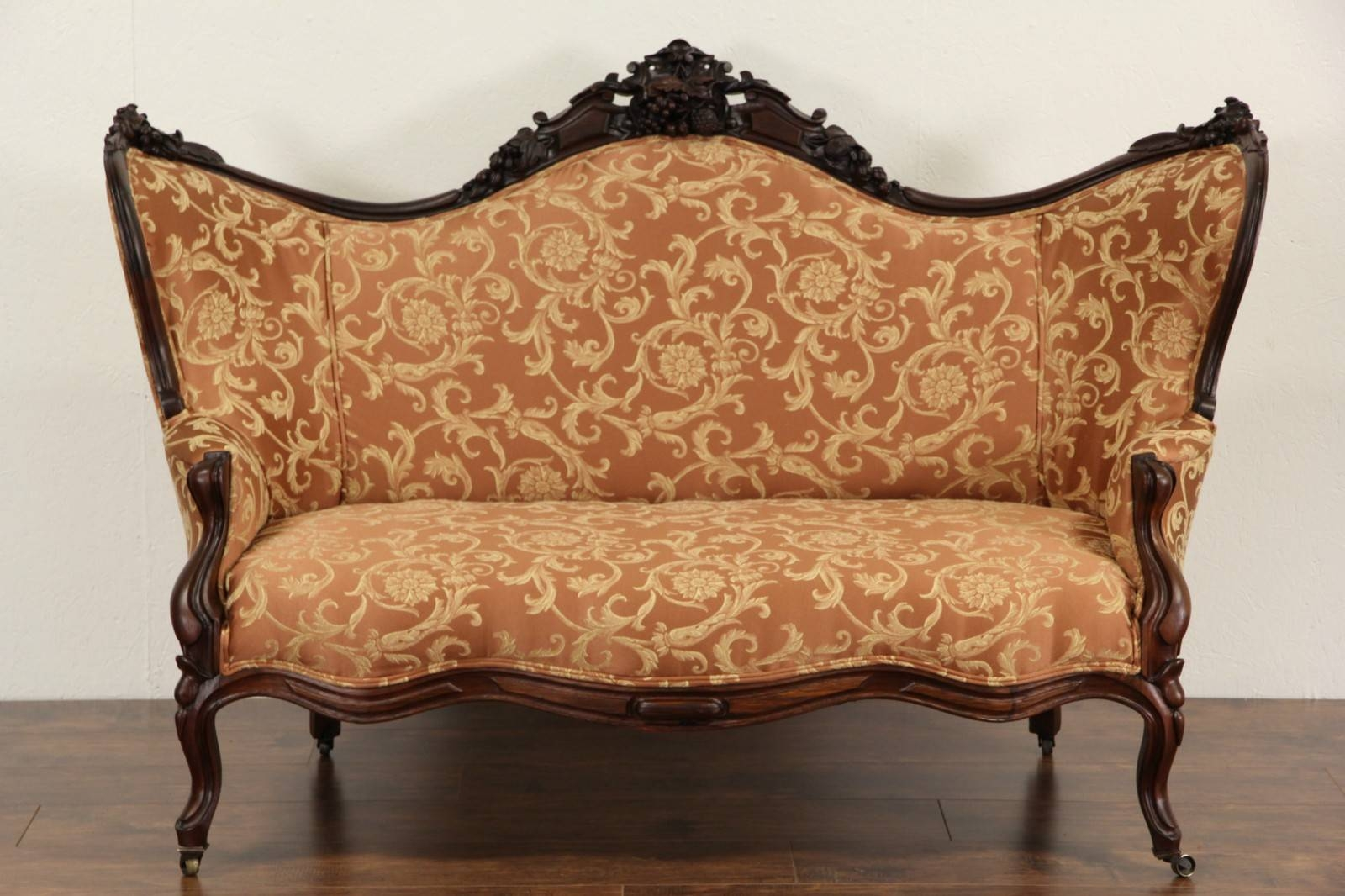 Sold - Victorian 1860 Antique Carved Grape & Fruit Motif Rosewood inside Antique Sofa Chairs (Image 23 of 30)