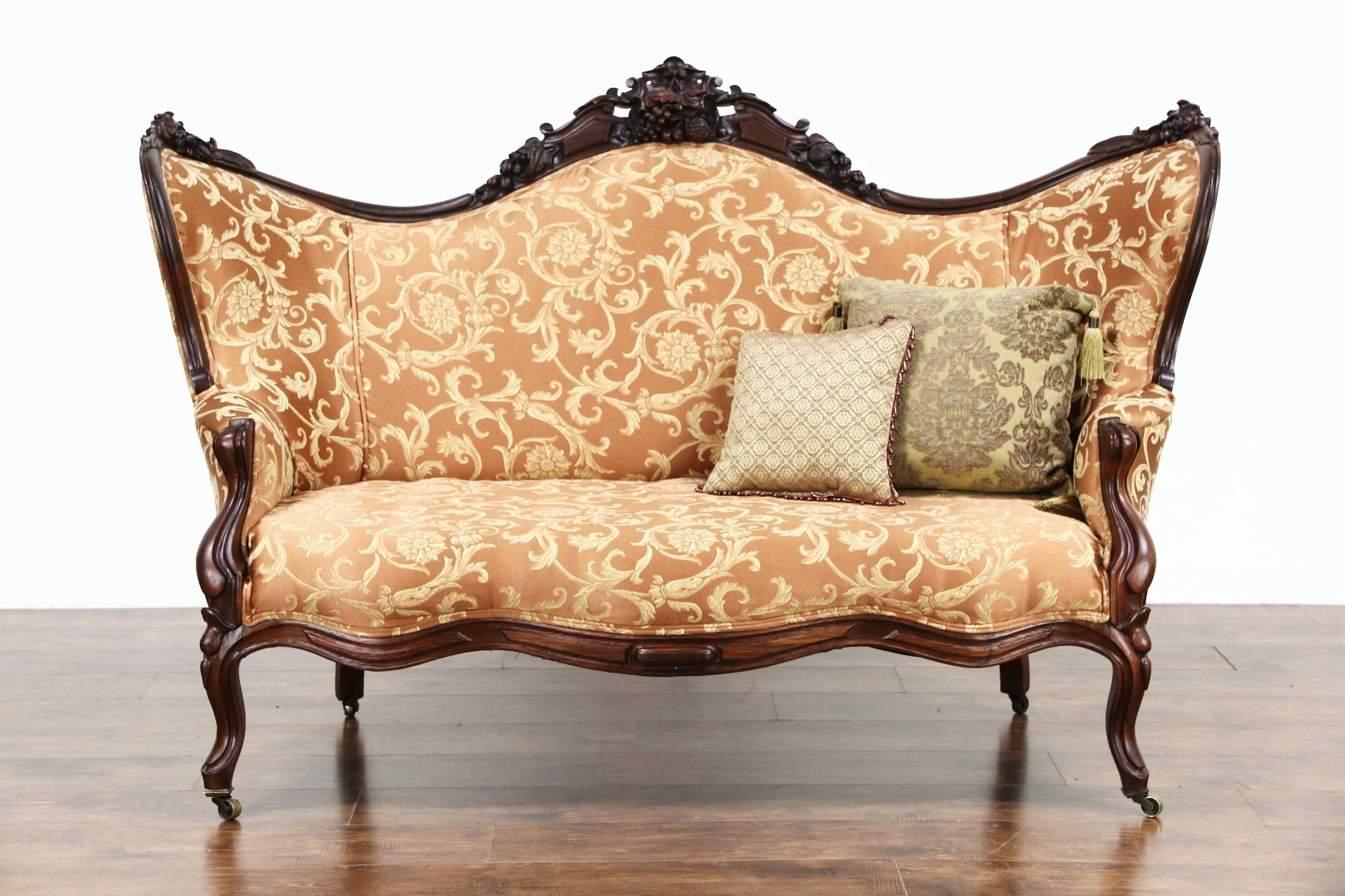 Sold - Victorian 1860 Antique Carved Grape & Fruit Motif Rosewood throughout Antique Sofa Chairs (Image 24 of 30)
